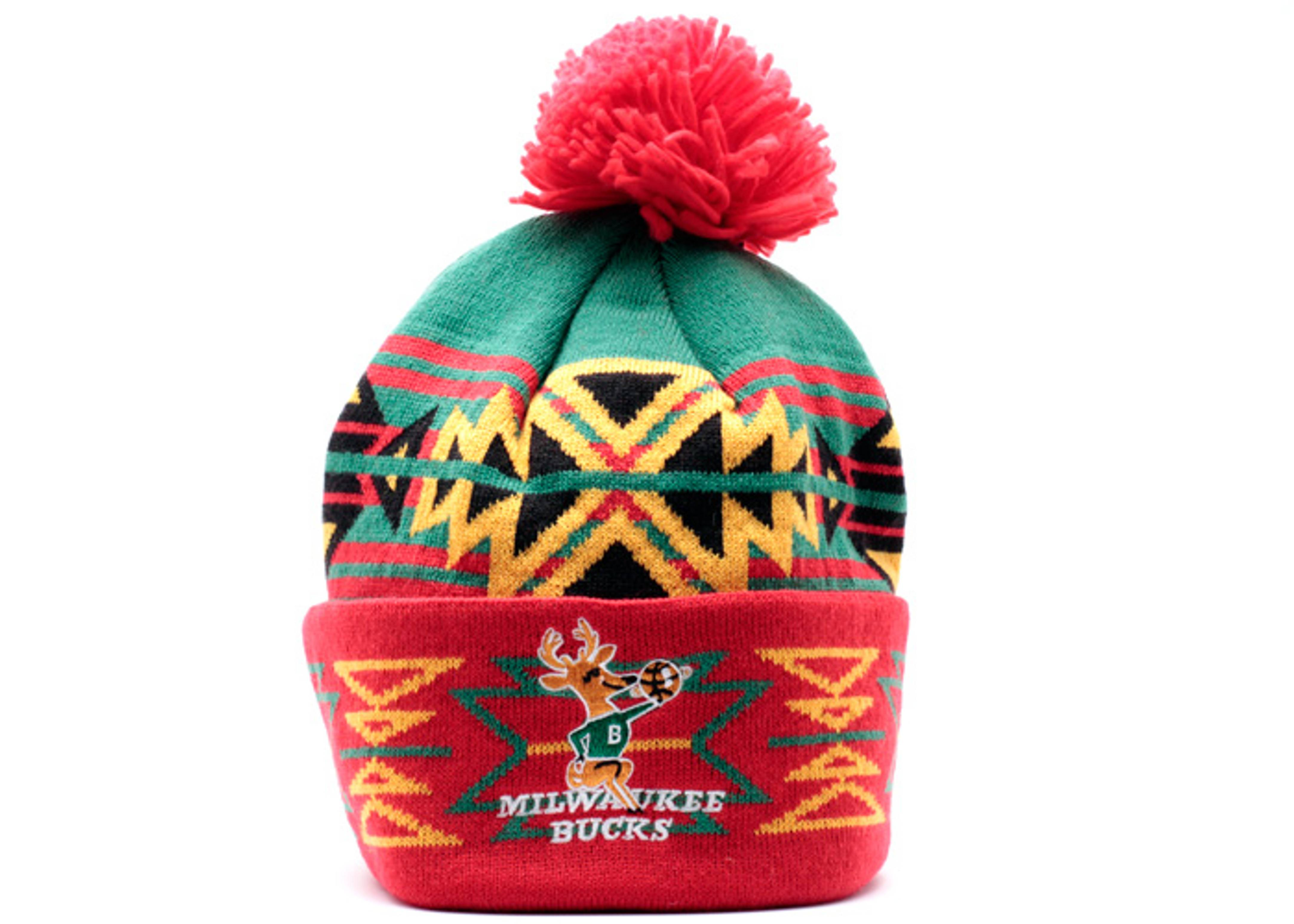 milwaukee bucks geotech cuffed pom knit beanie