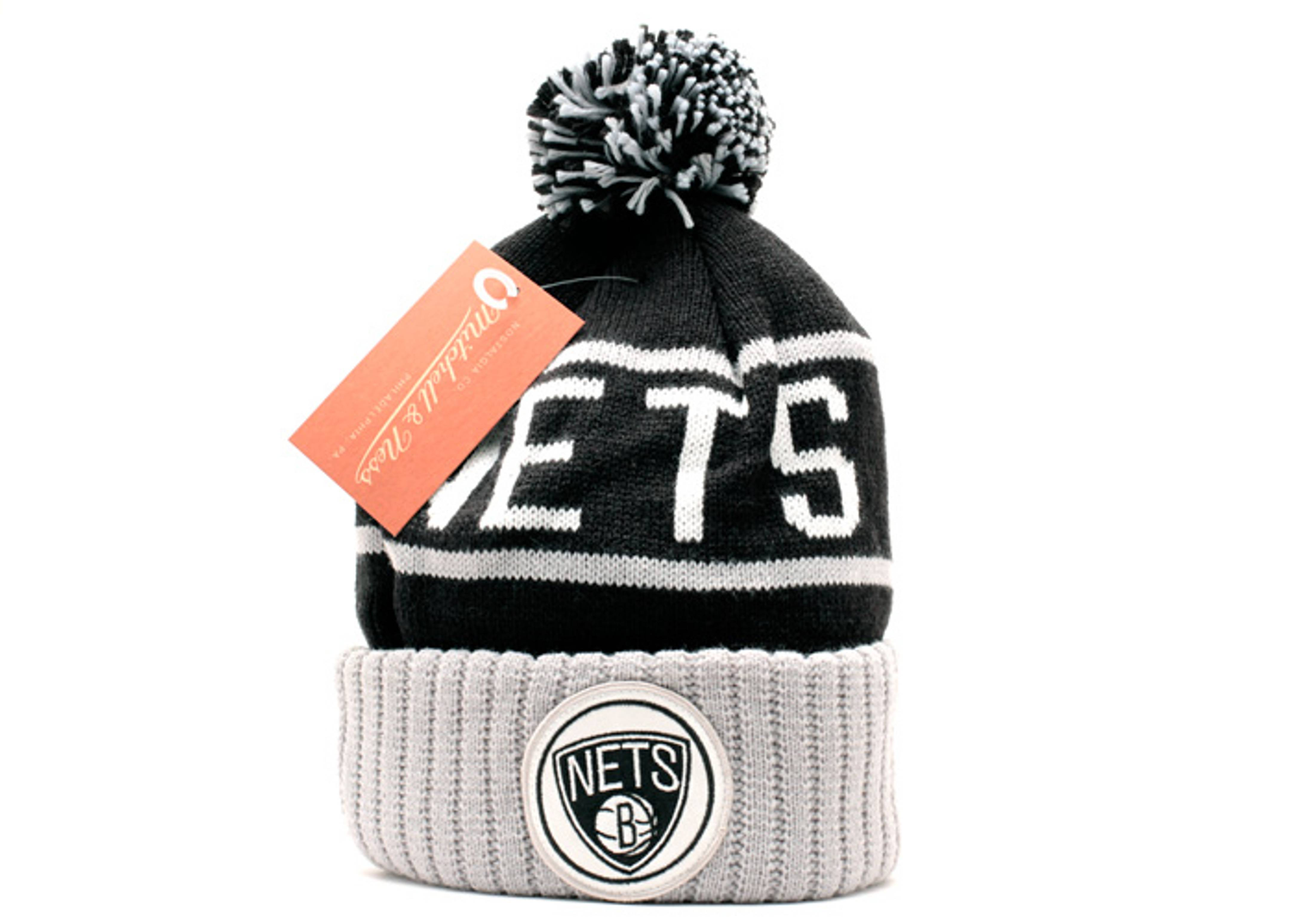 brooklyn nets cuffed pom knit beanie