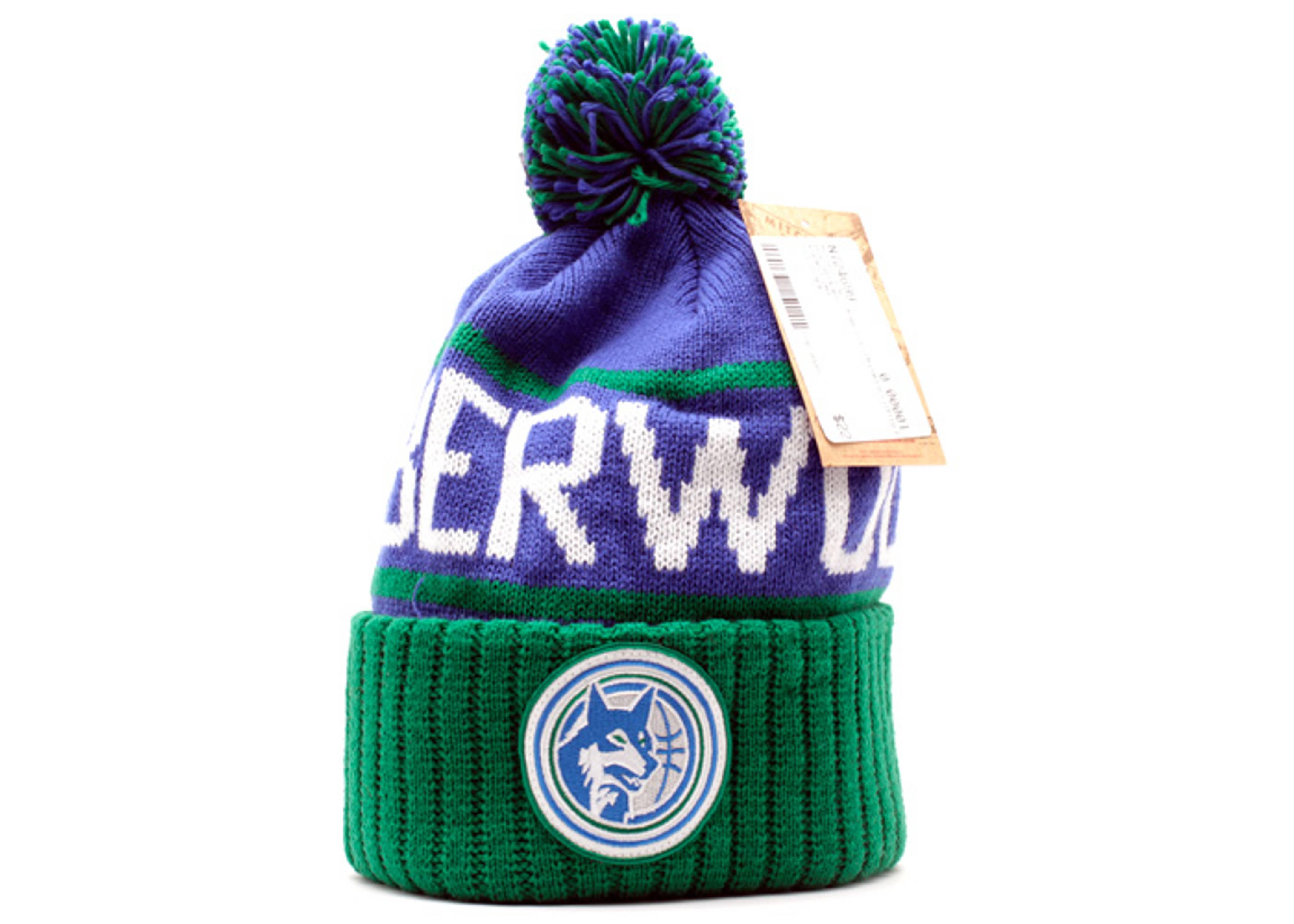 Minnesota Timberwolves Cuffed Pom Knit Beanie - Mitchell   Ness -  kj46mtc5timbe - blue green-wht  538811bffd7