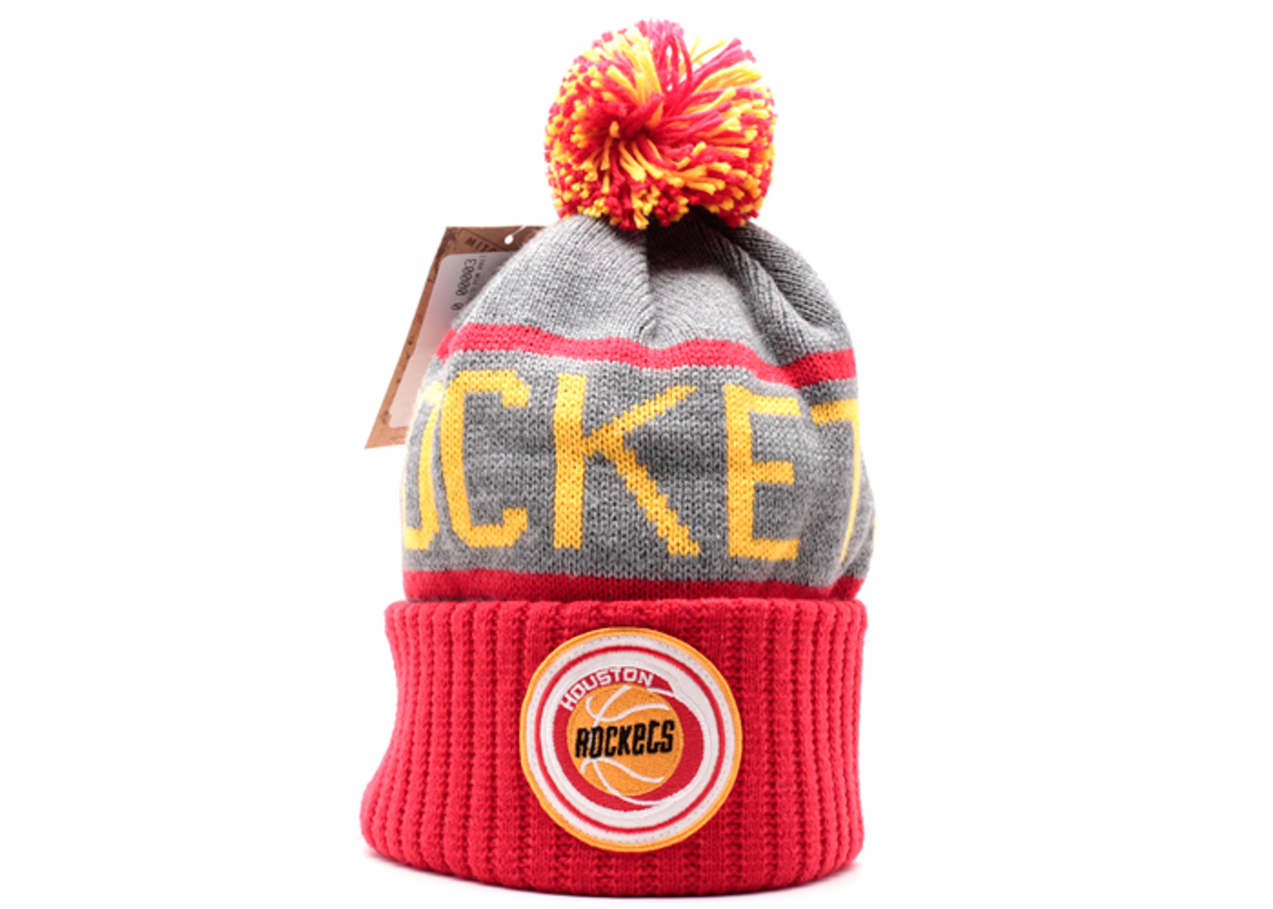 houston rockets cuffed pom knit beanie