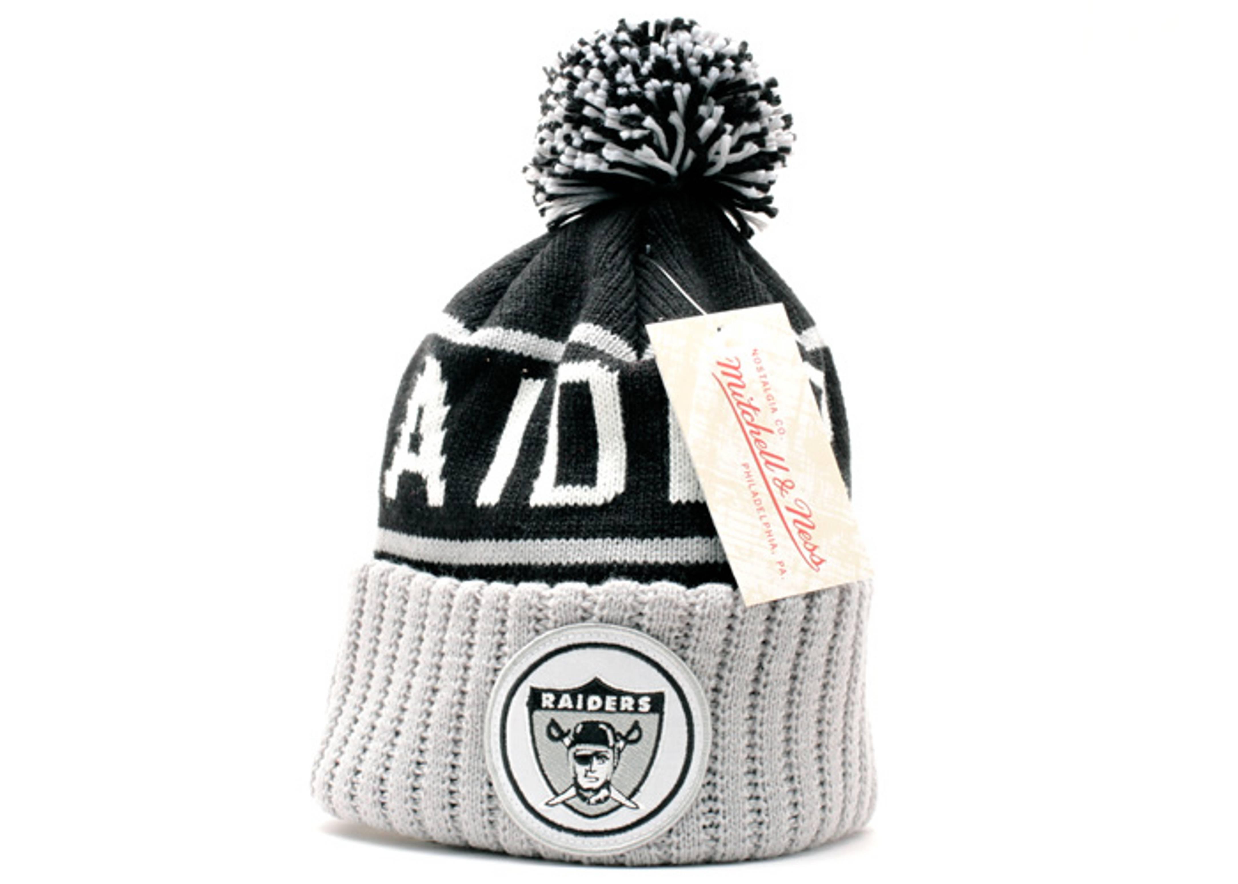 a6c2671e53c Oakland Raiders Cuffed Pom Knit Beanie - Mitchell   Ness - kj48mtc6raide -  black grey