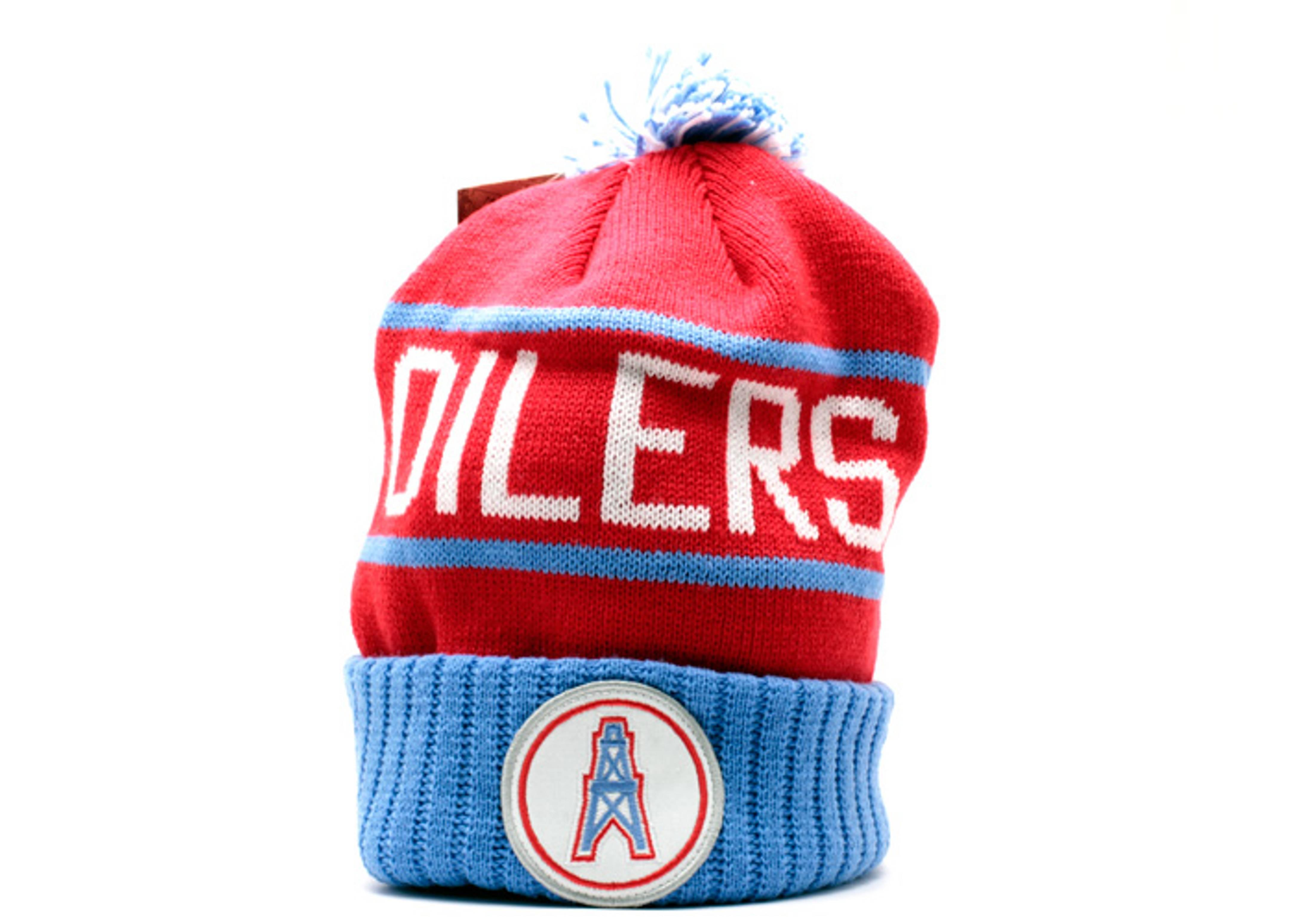 66b864274 Houston Oilers Cuffed Pom Knit Beanie - Mitchell   Ness - kj48mtc6oiler -  red light blue-white