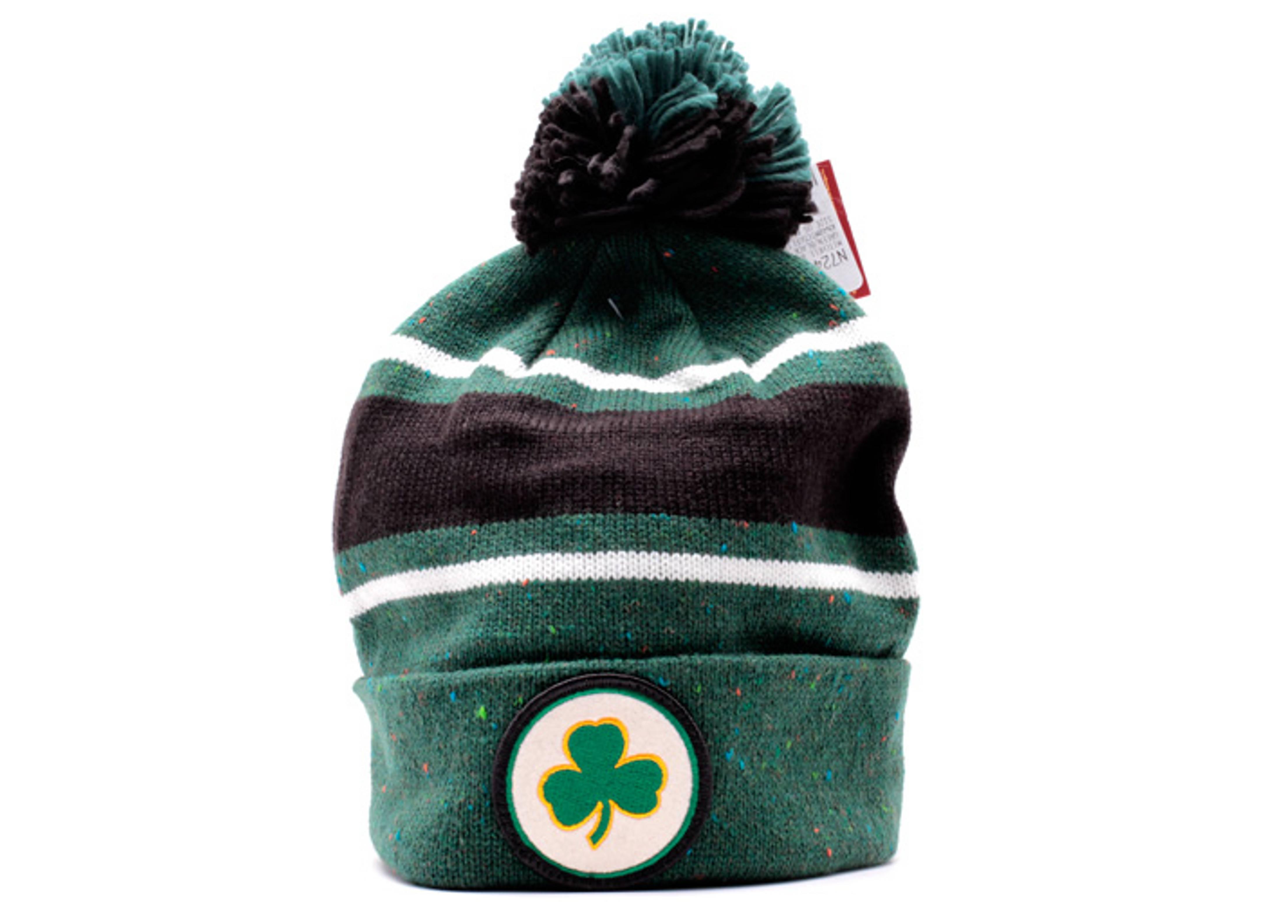 boston celtics cuffed pom knit beanie