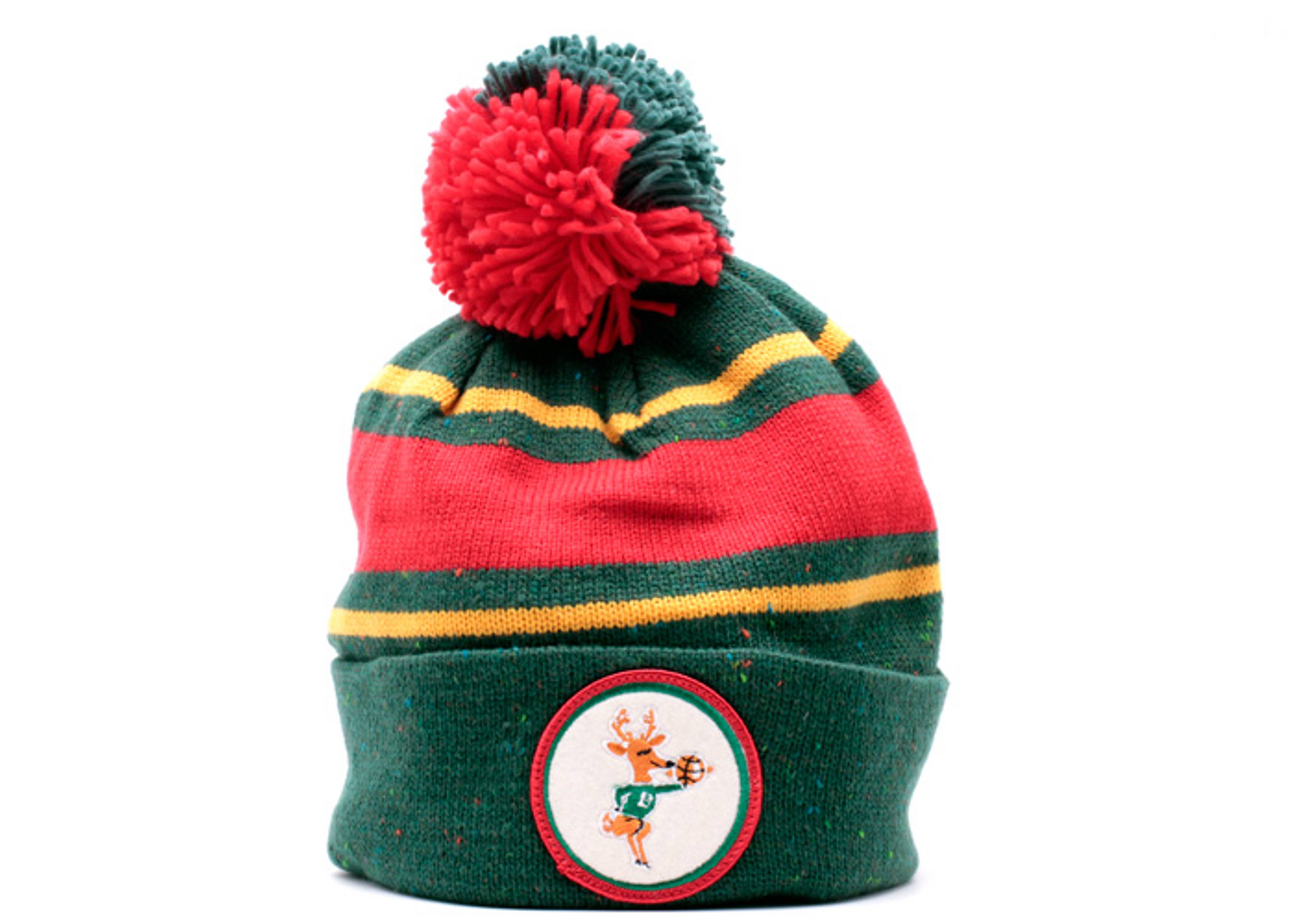 milwaukee bucks cuffed pom knit beanie