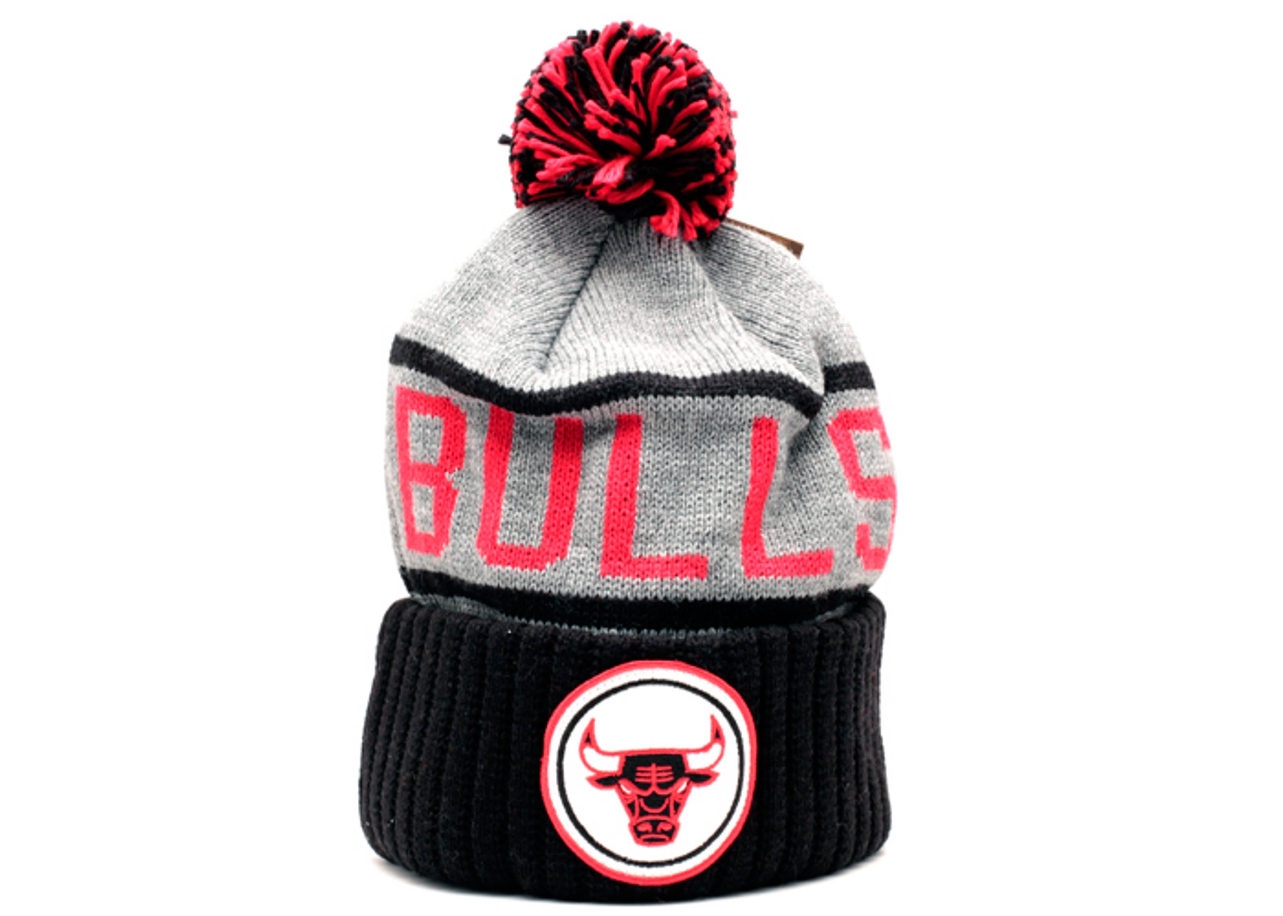 16390c85e903 Chicago Bulls Cuffed Pom Knit Beanie - Mitchell   Ness ...