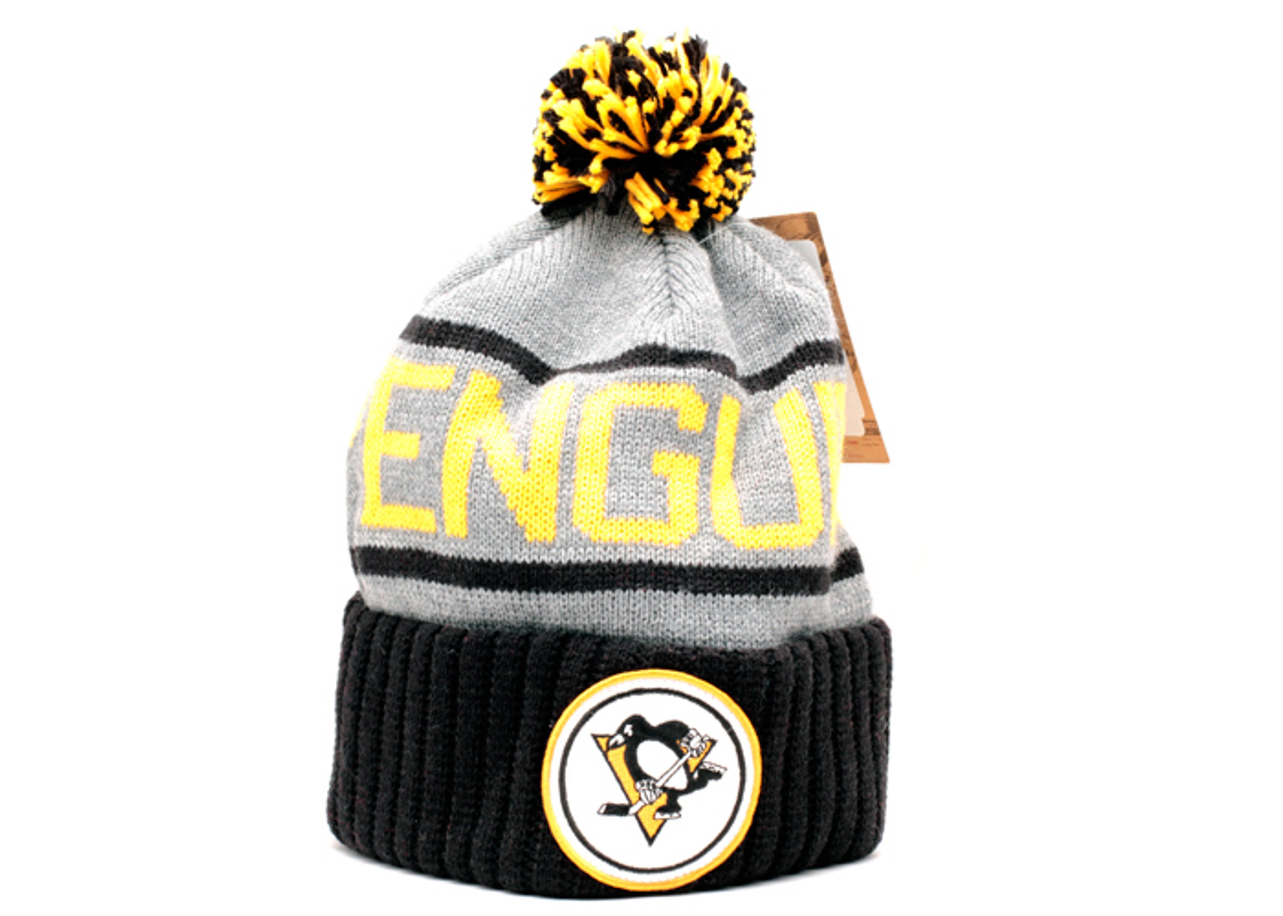 pittsburgh penguins cuffed pom knit beanie