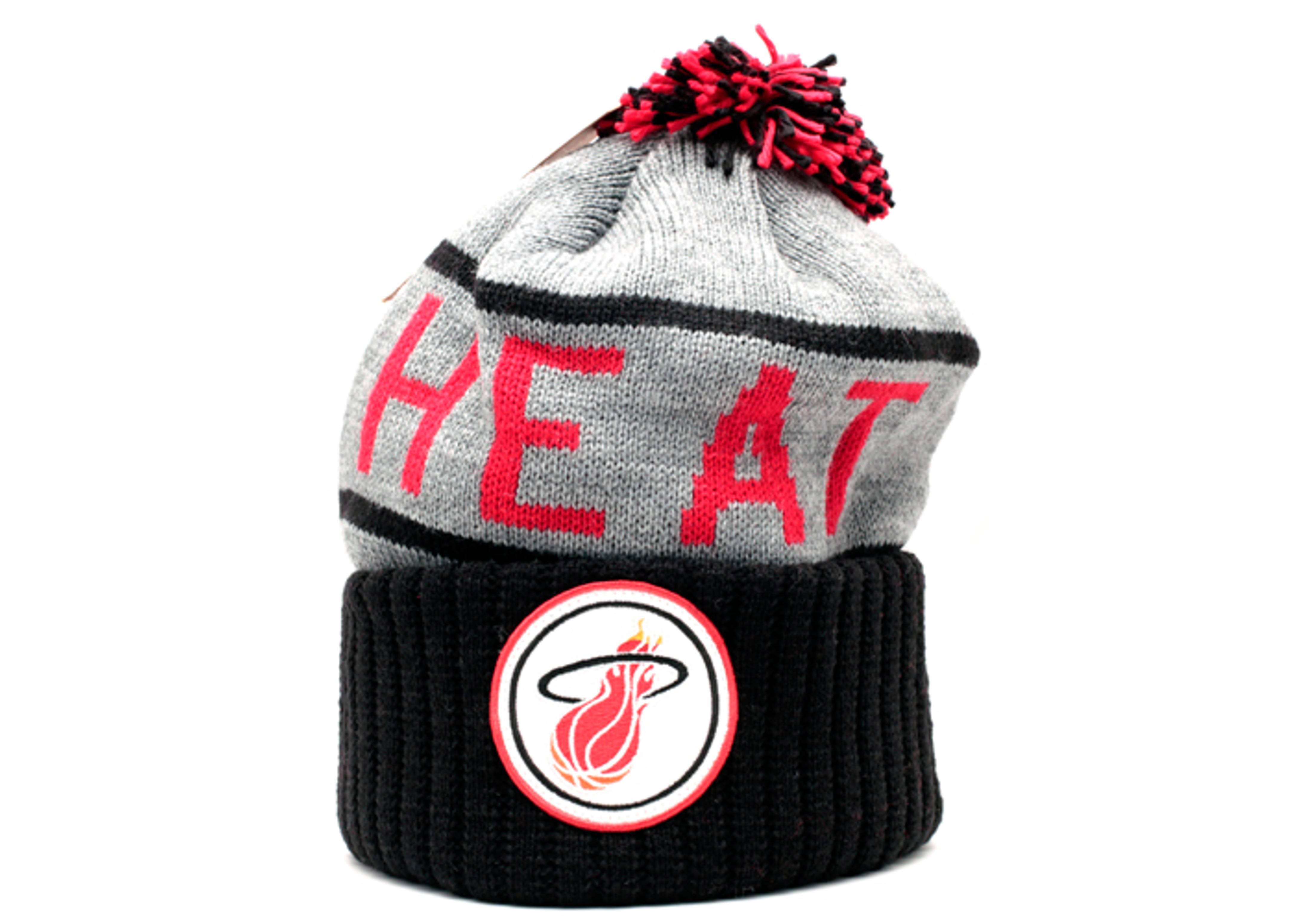 miami heat cuffed pom knit beanie