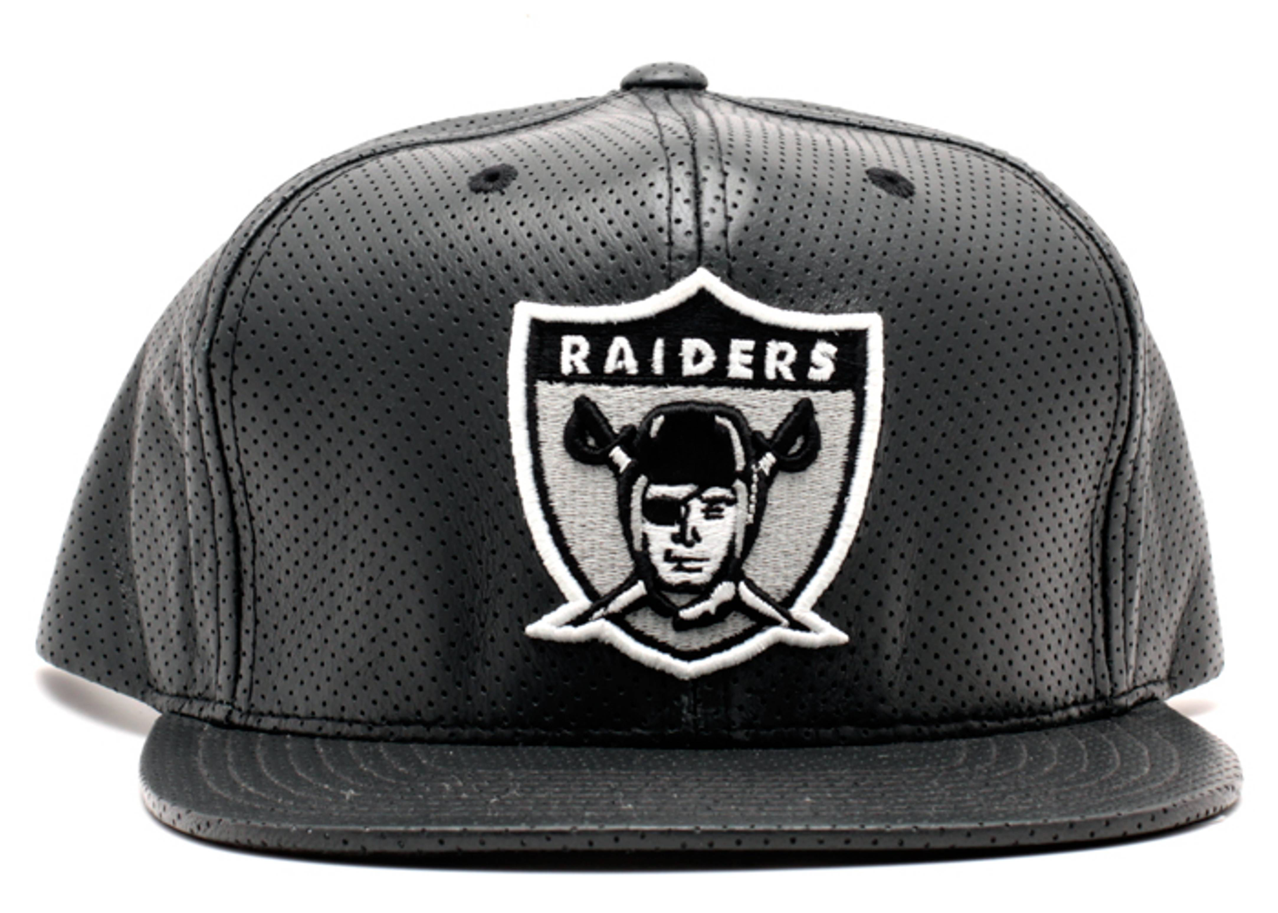 oakland raiders perforated leather snap-back