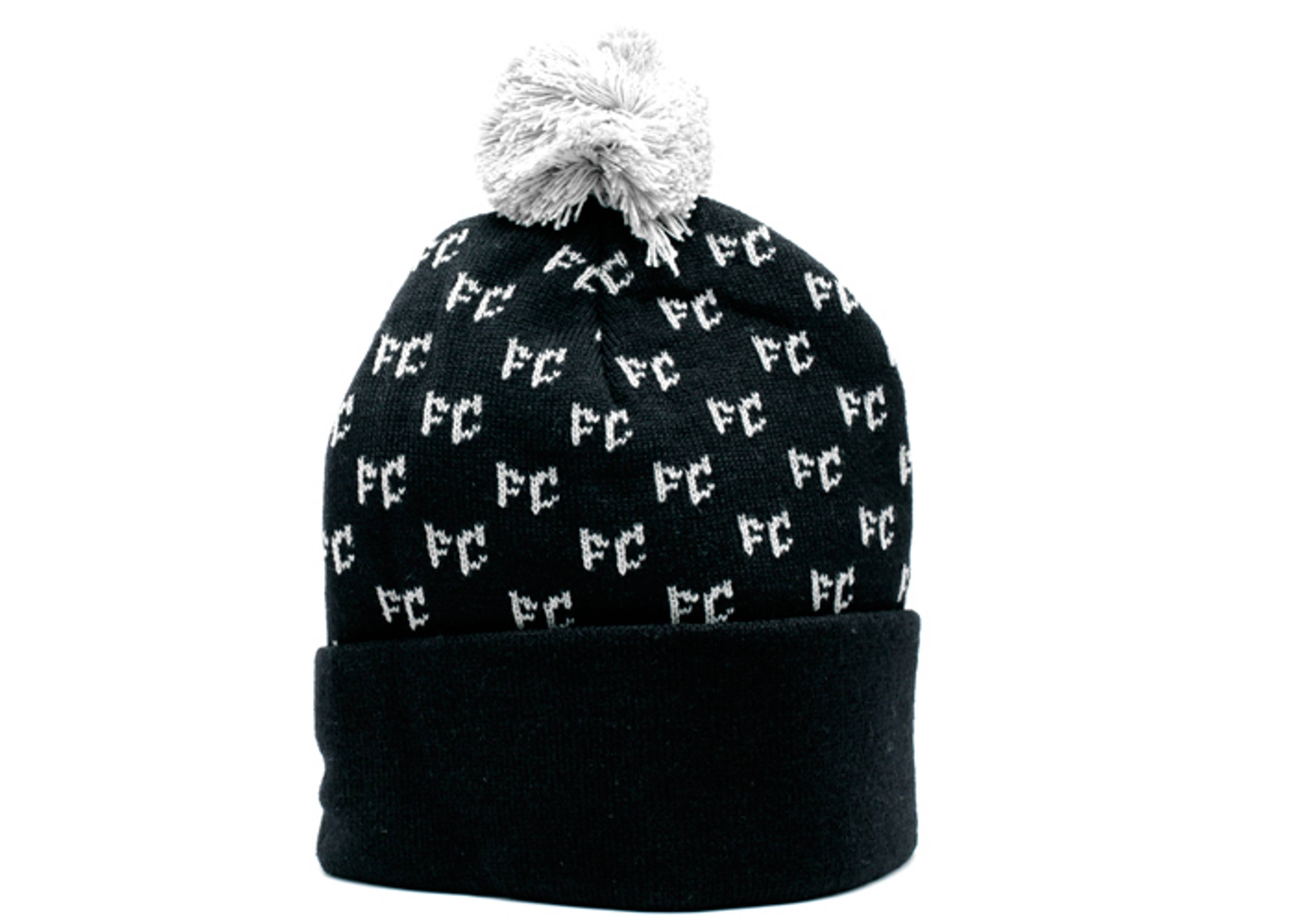 chevron cuffed pom knit beanie
