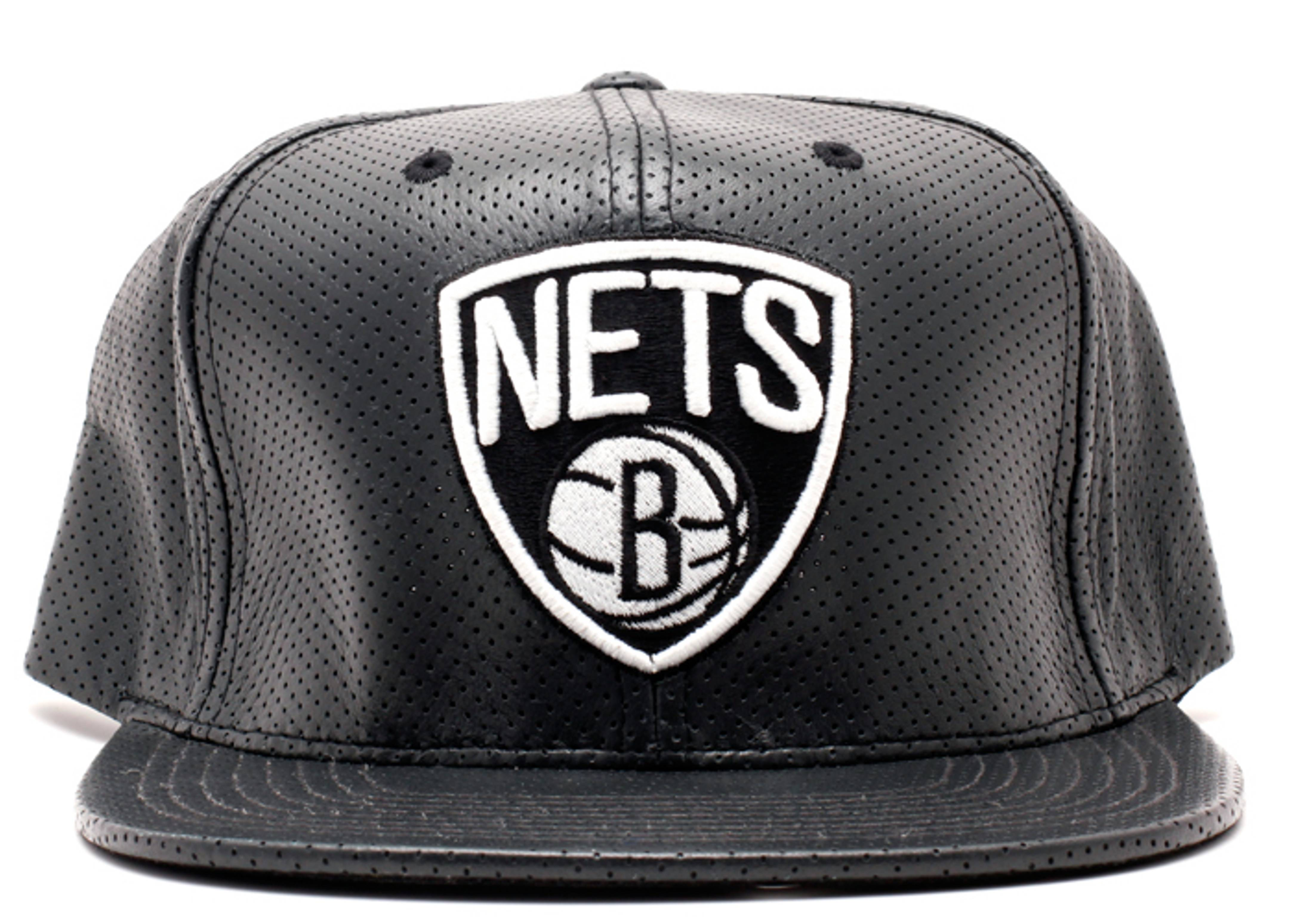 brooklyn nets perforated leather snap-back