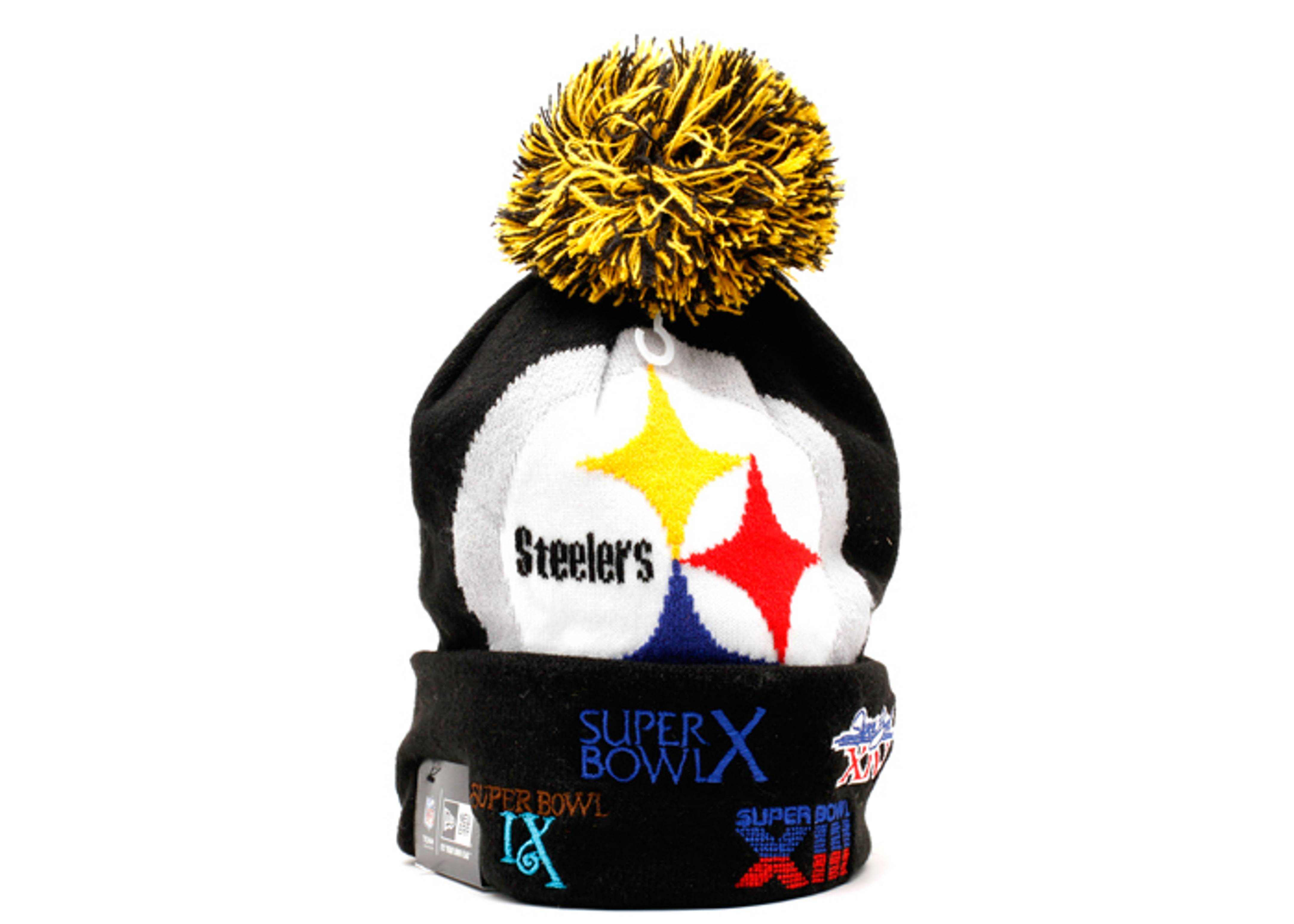 """pittsburgh steelers cuffed pom knit beanie """"superbowl patches"""""""