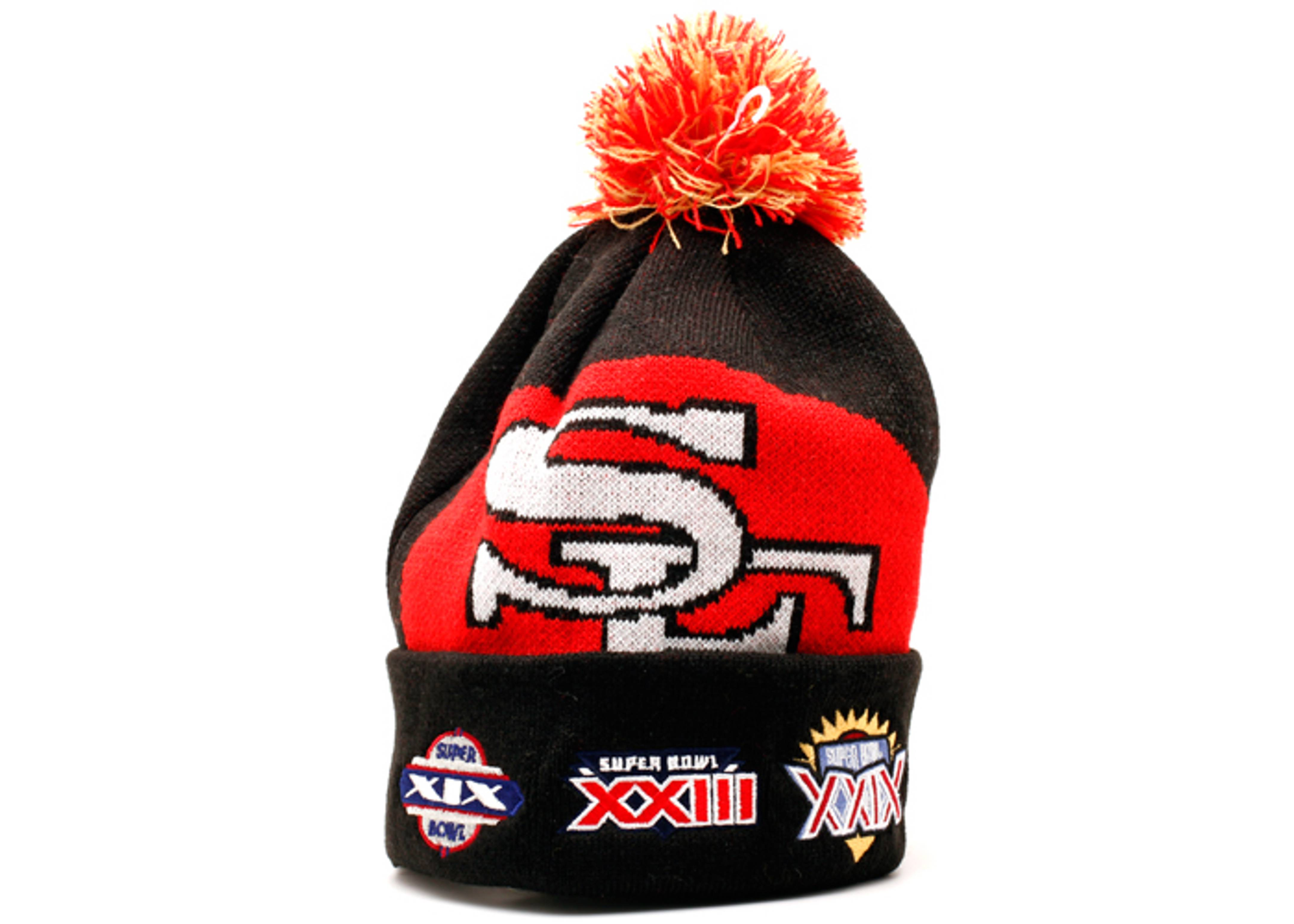 "san francisco 49ers cuffed pom knit beanie ""superbowl patches"""