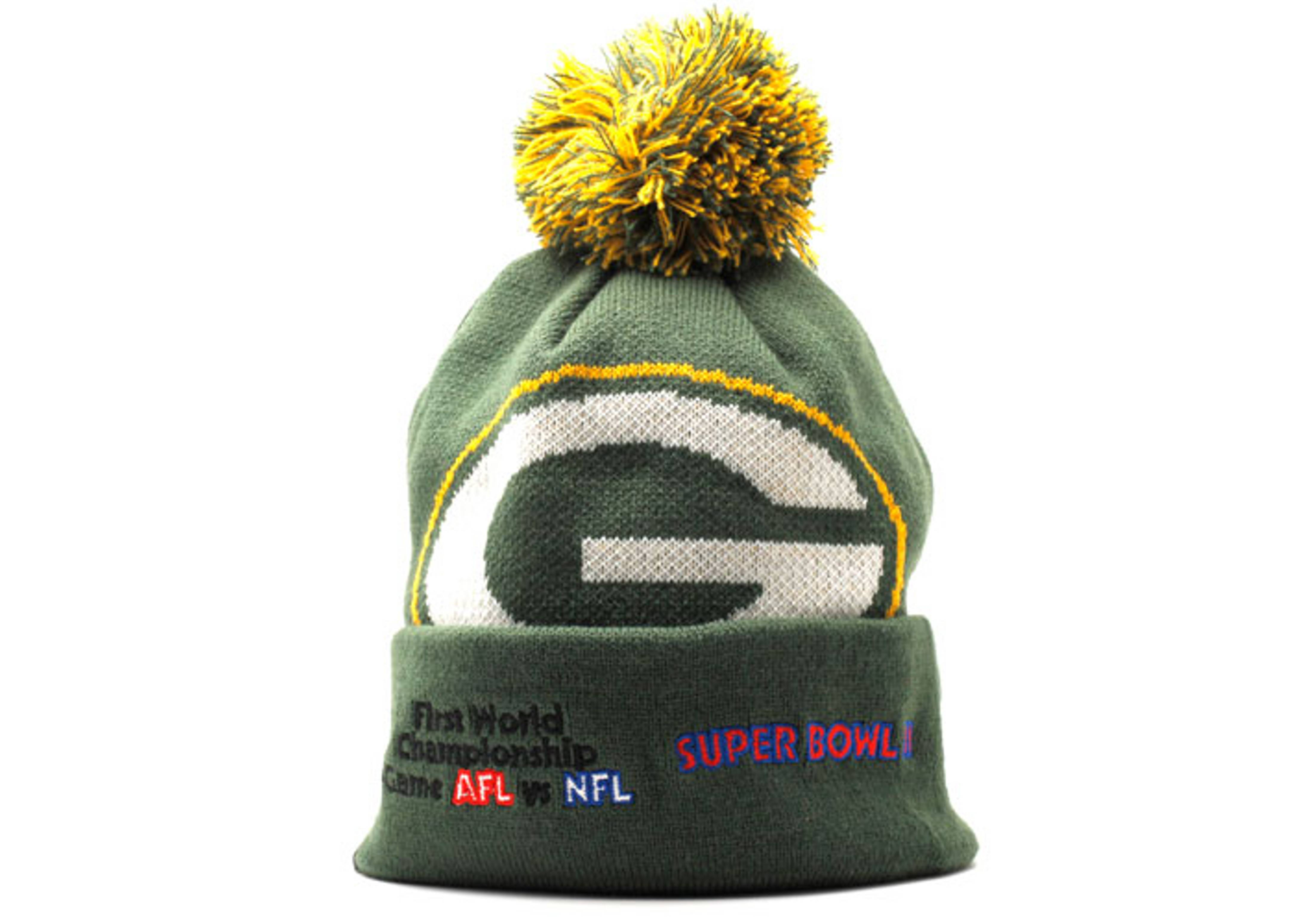 "green bay packers cuffed pom knit beanie ""superbowl patches"""