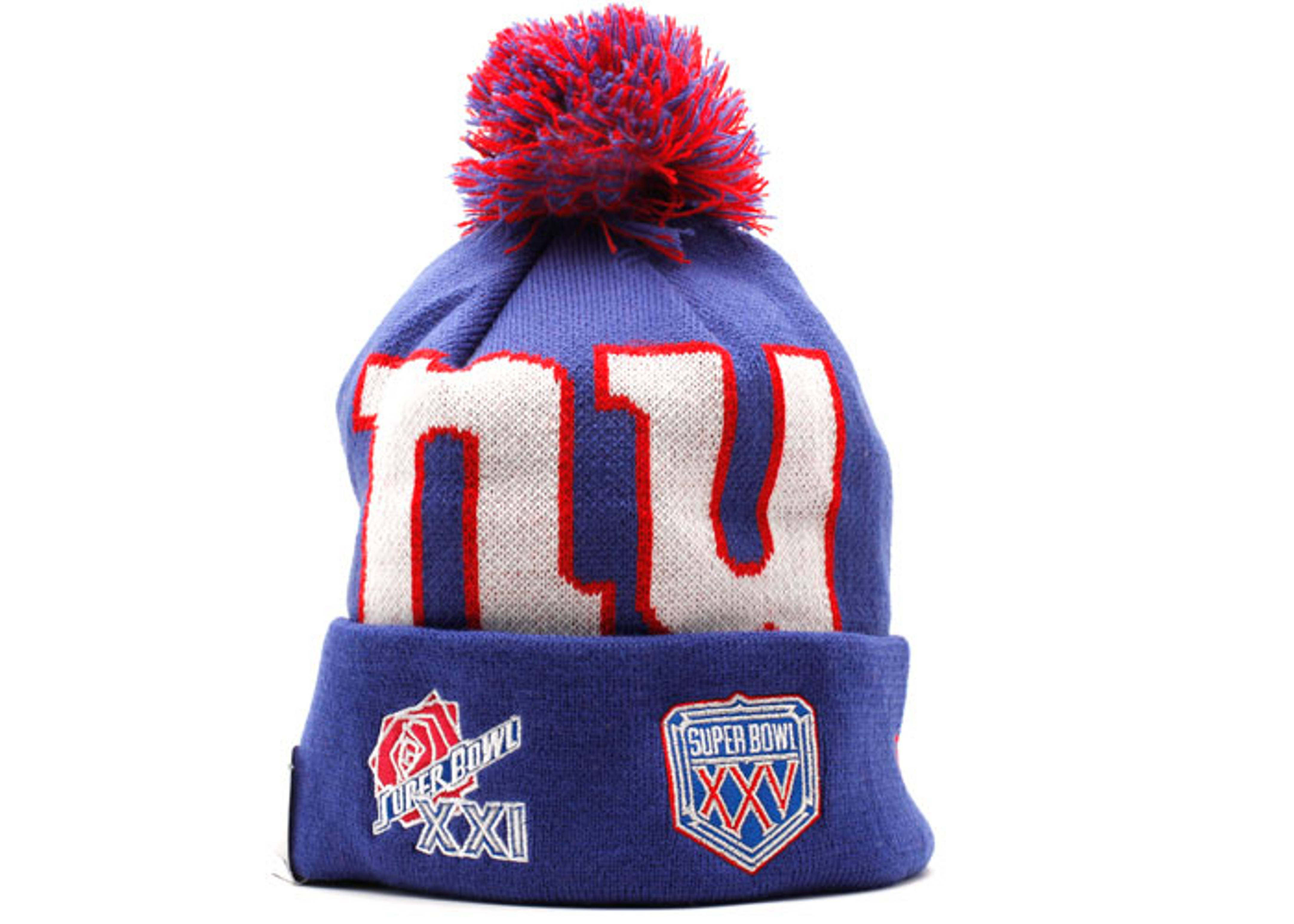 "new york giants cuffed pom knit beanie ""superbowl patches"""
