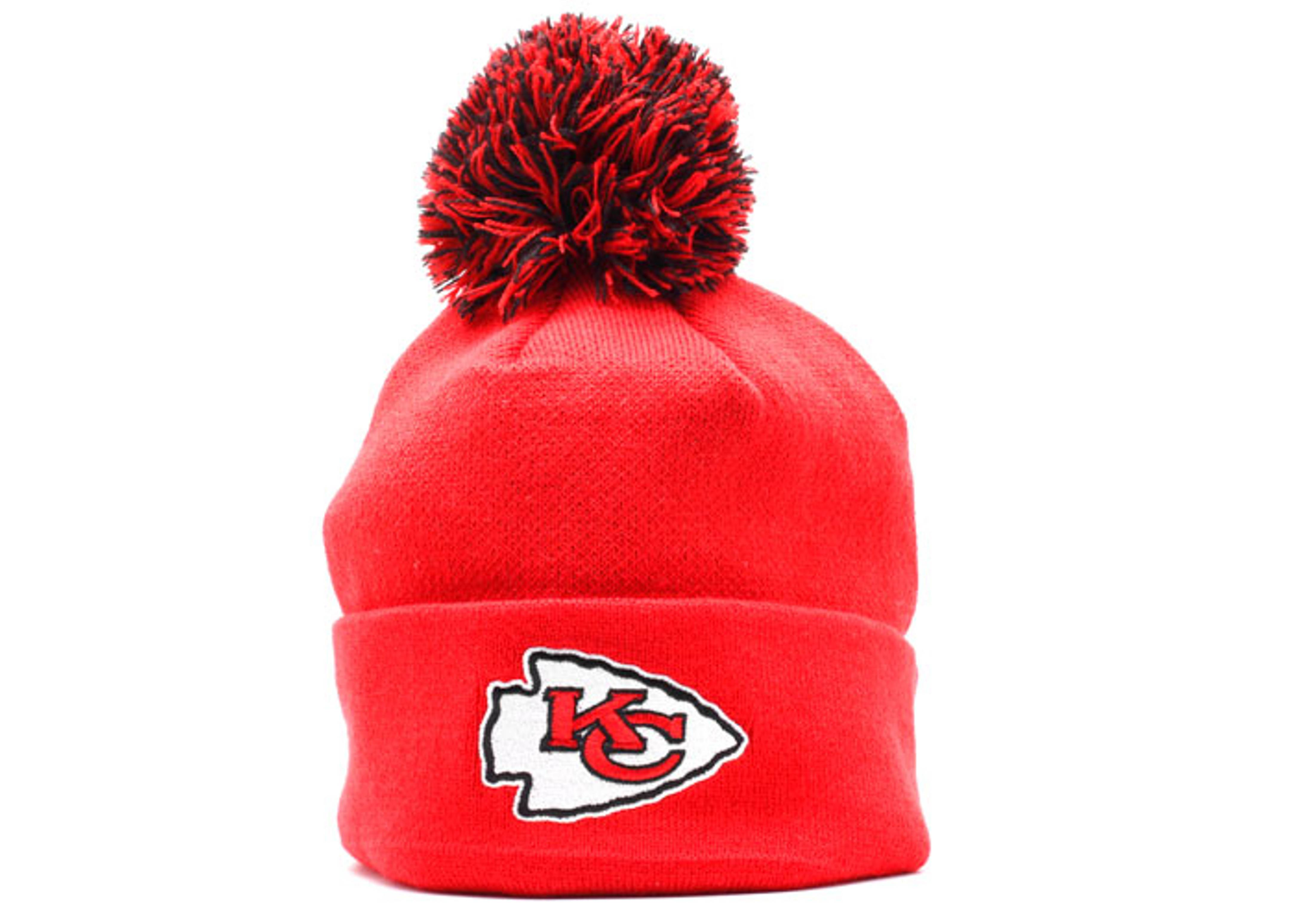 "kansas city cheifs cuffed pom knit beanie ""superbowl patches"""