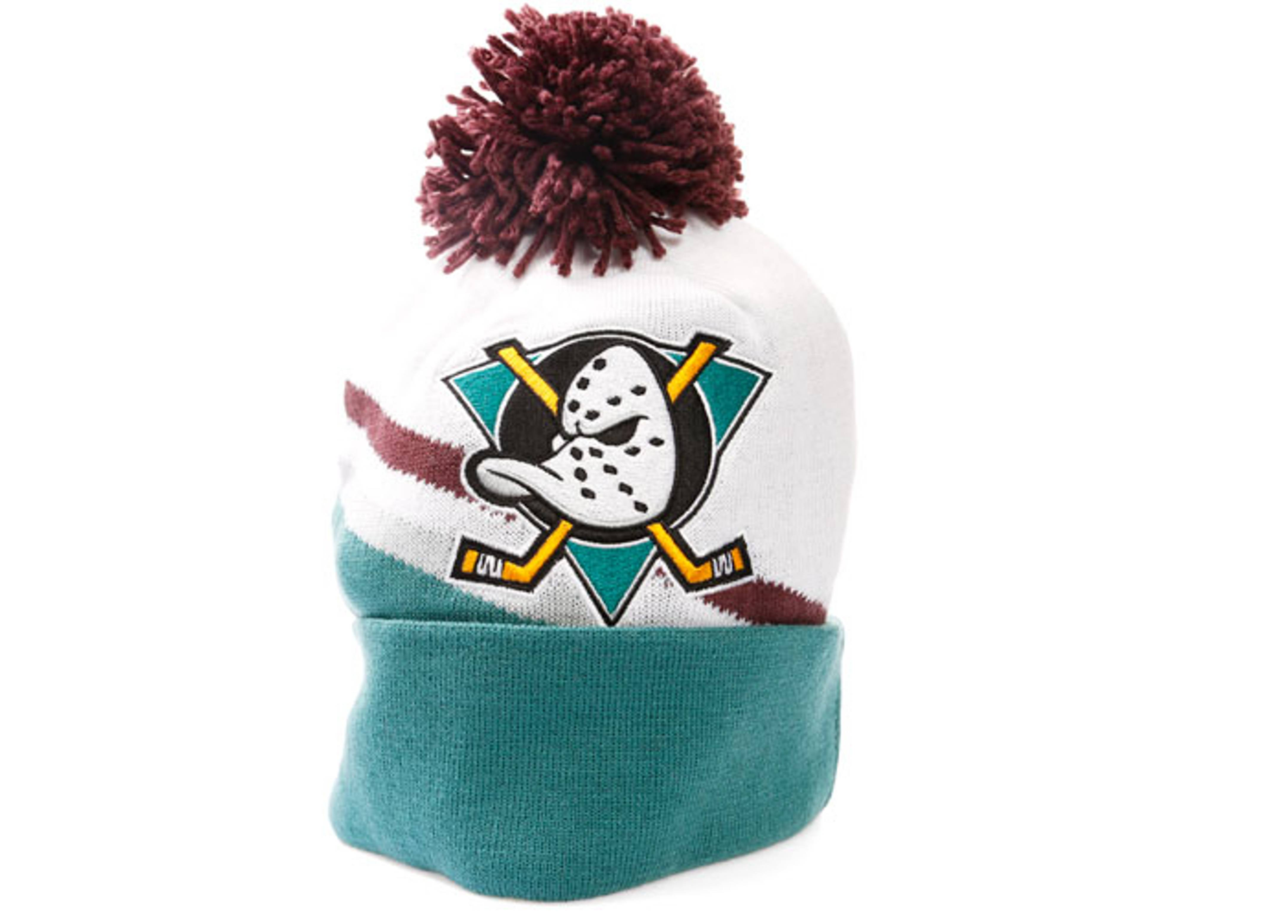 e4b13ef25bd ... new era black biggest fan redux cuffed knit hat 78430 aff4c where can i  buy anaheim mighty ducks cuffed pom knit beanie 87823 73af4 ...