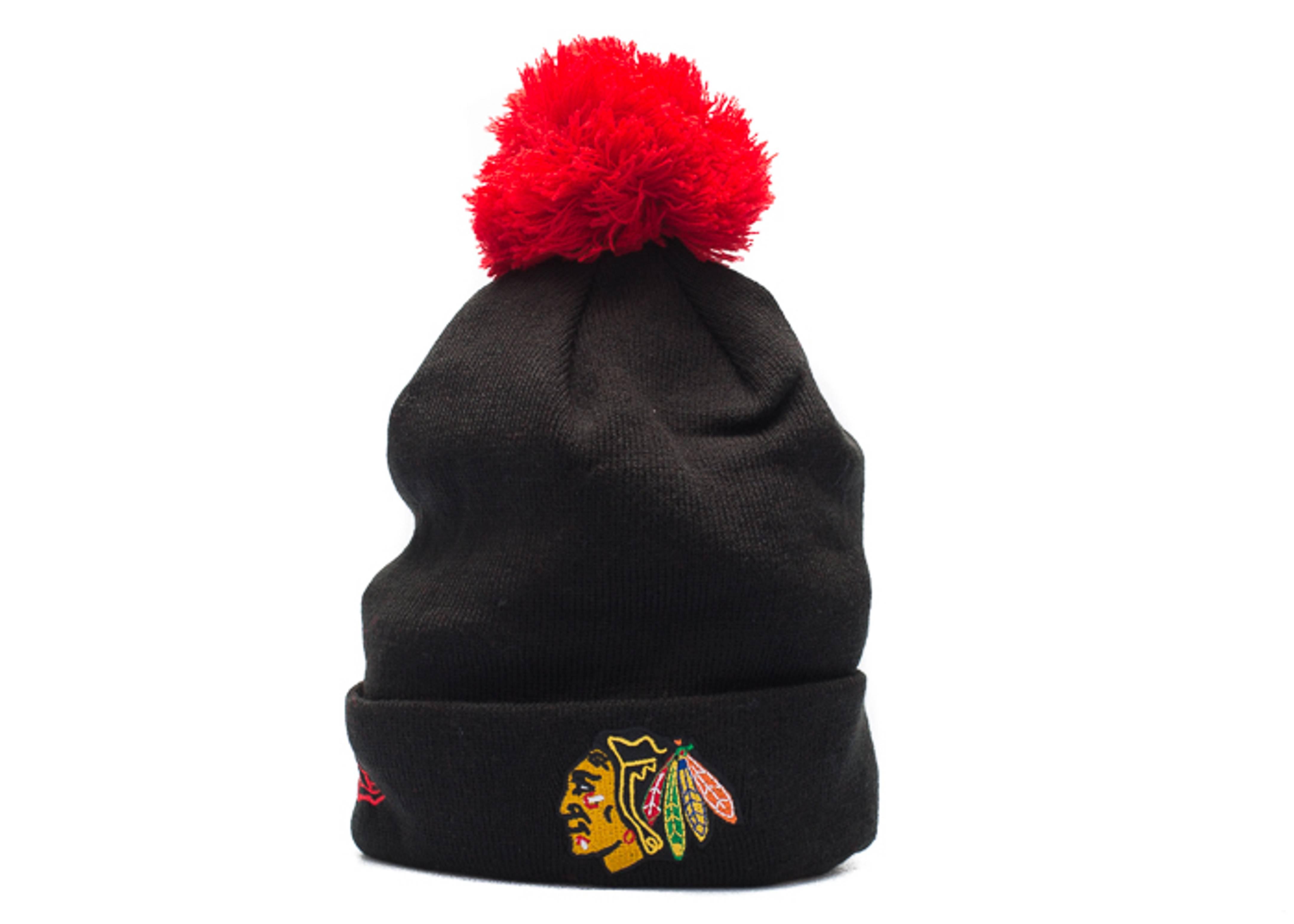 "chicago blackhawks cuffed pom knit beanie ""3m logo"""