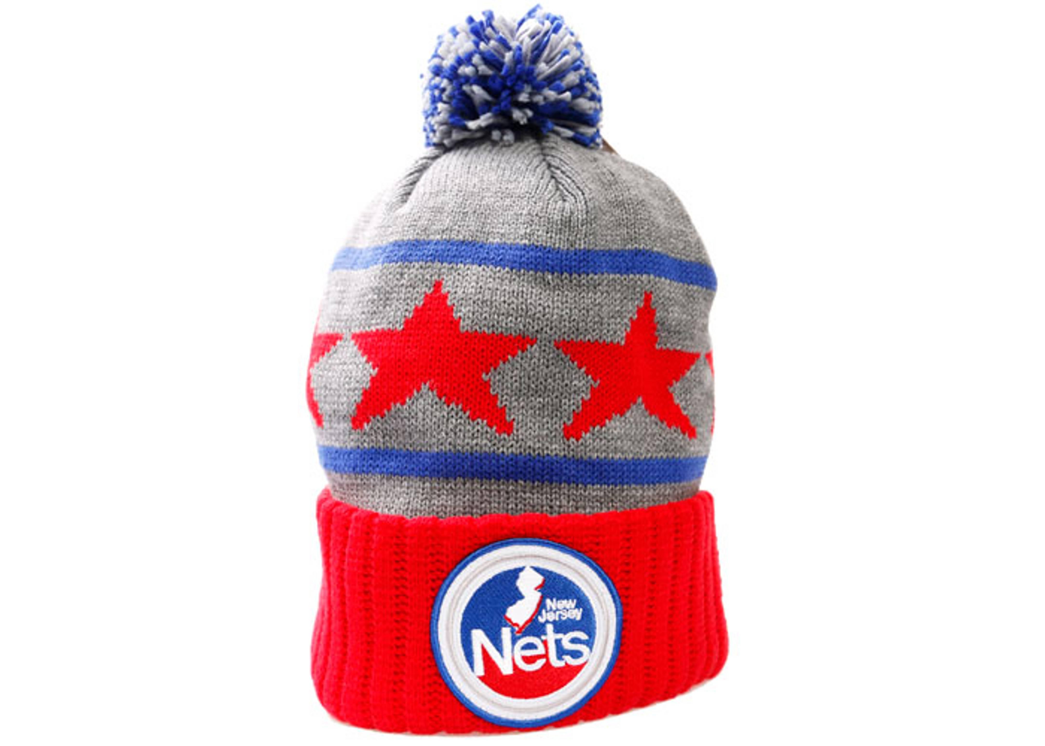 new jersey nets cuffed pom knit beanie