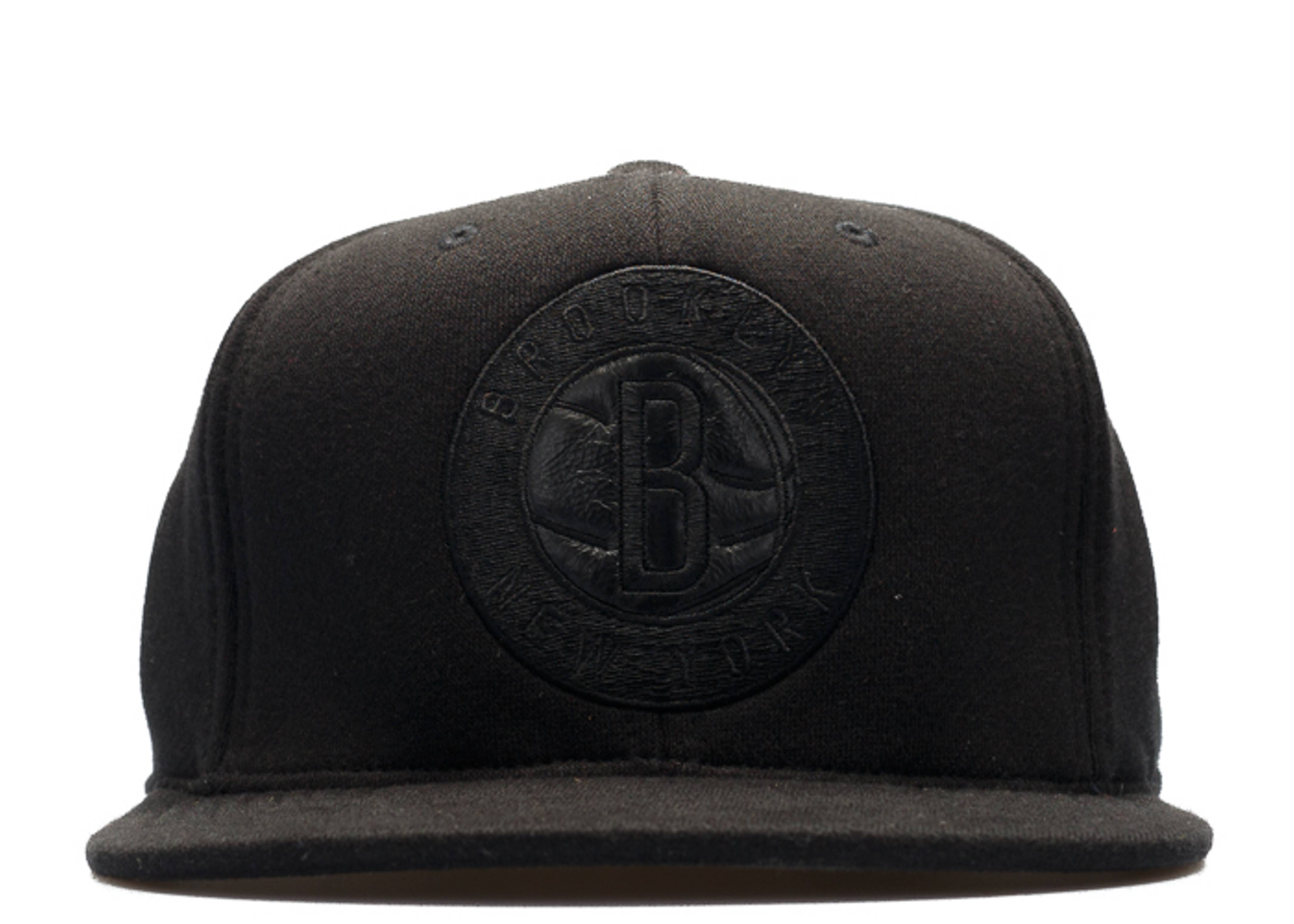 """brooklyn nets high crown fitted """"blackout"""""""
