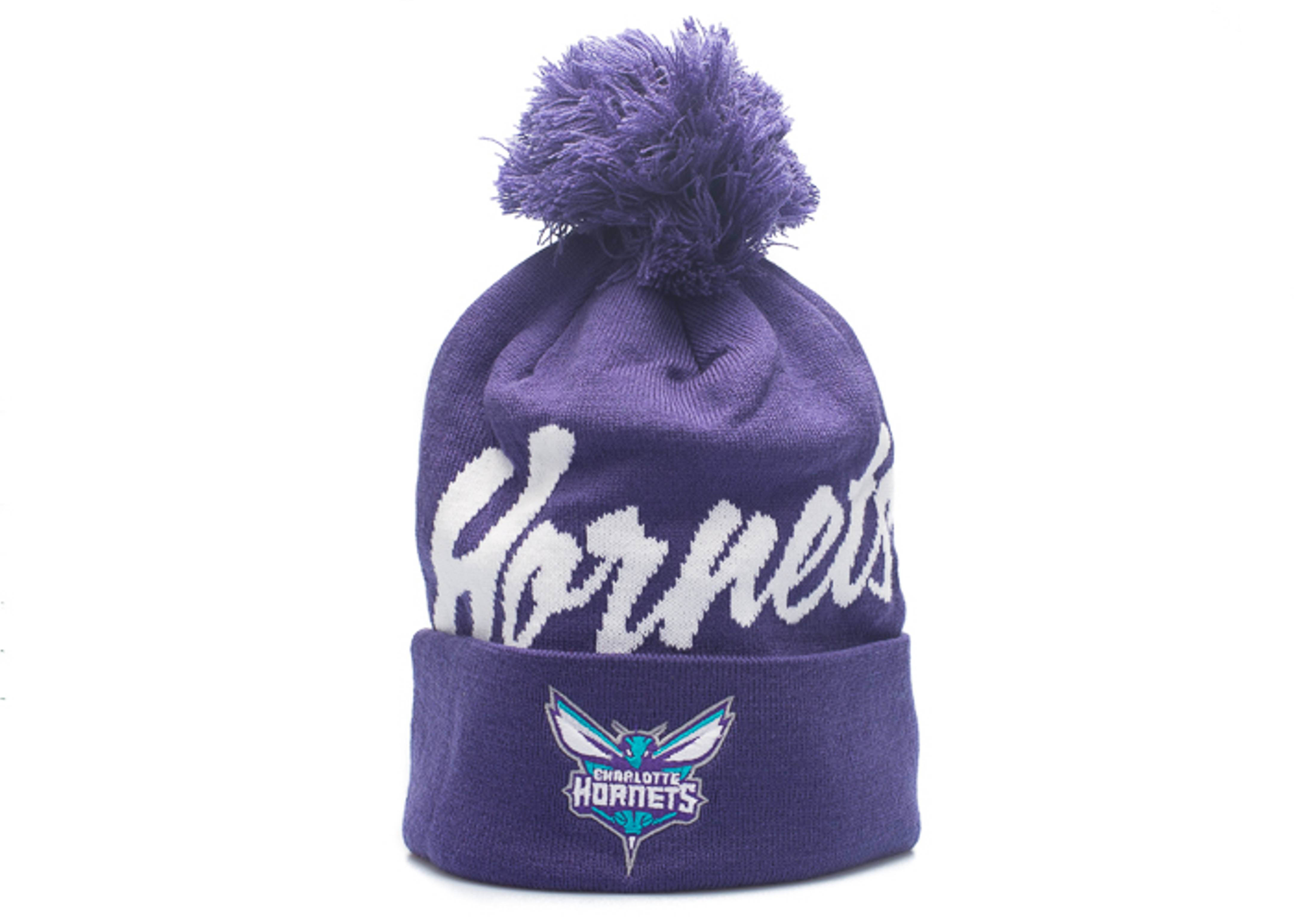 """charlotte hornets beanie """"double up cuffed pom"""""""