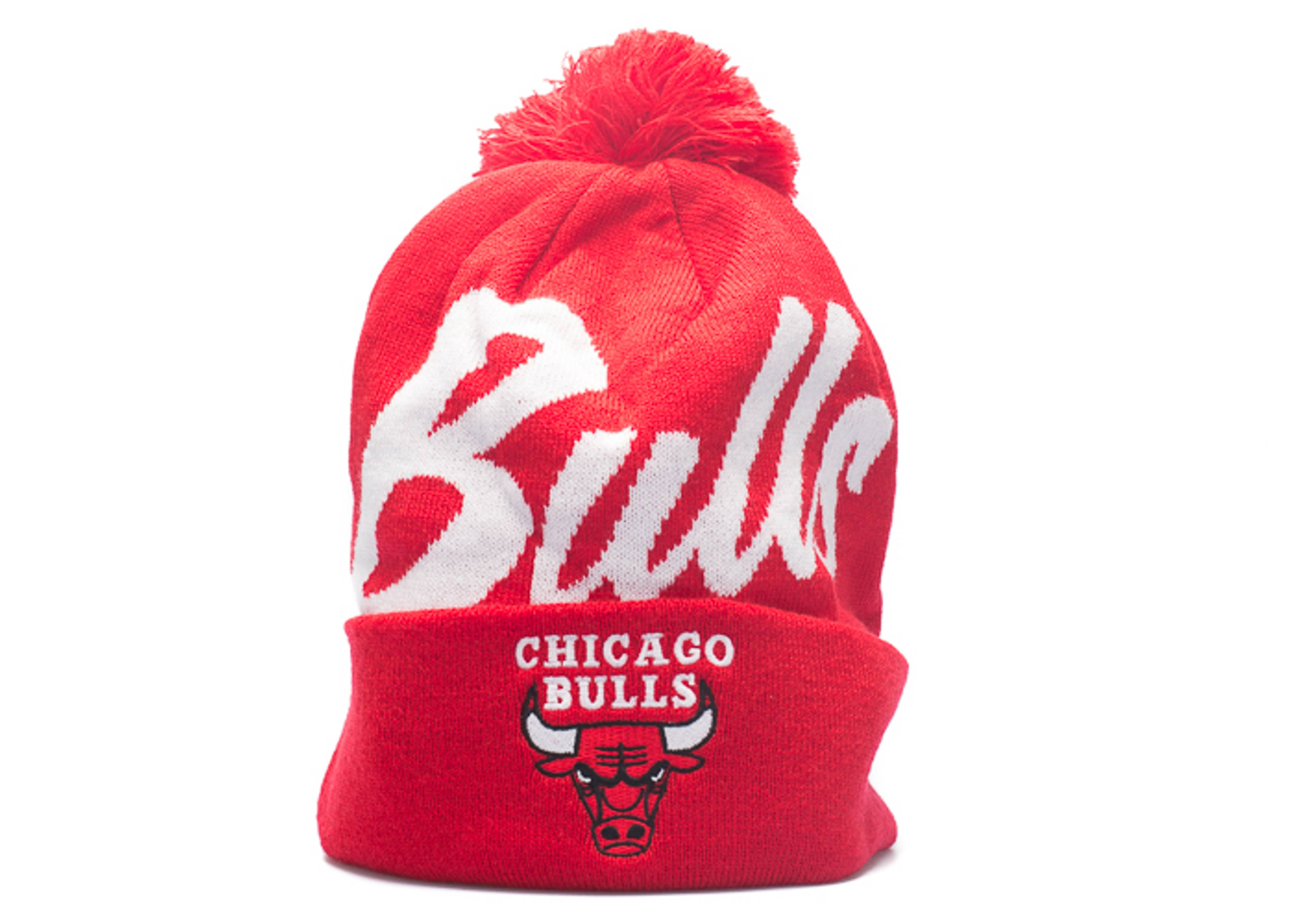 "chicago bulls beanie ""double up cuffed pom"""