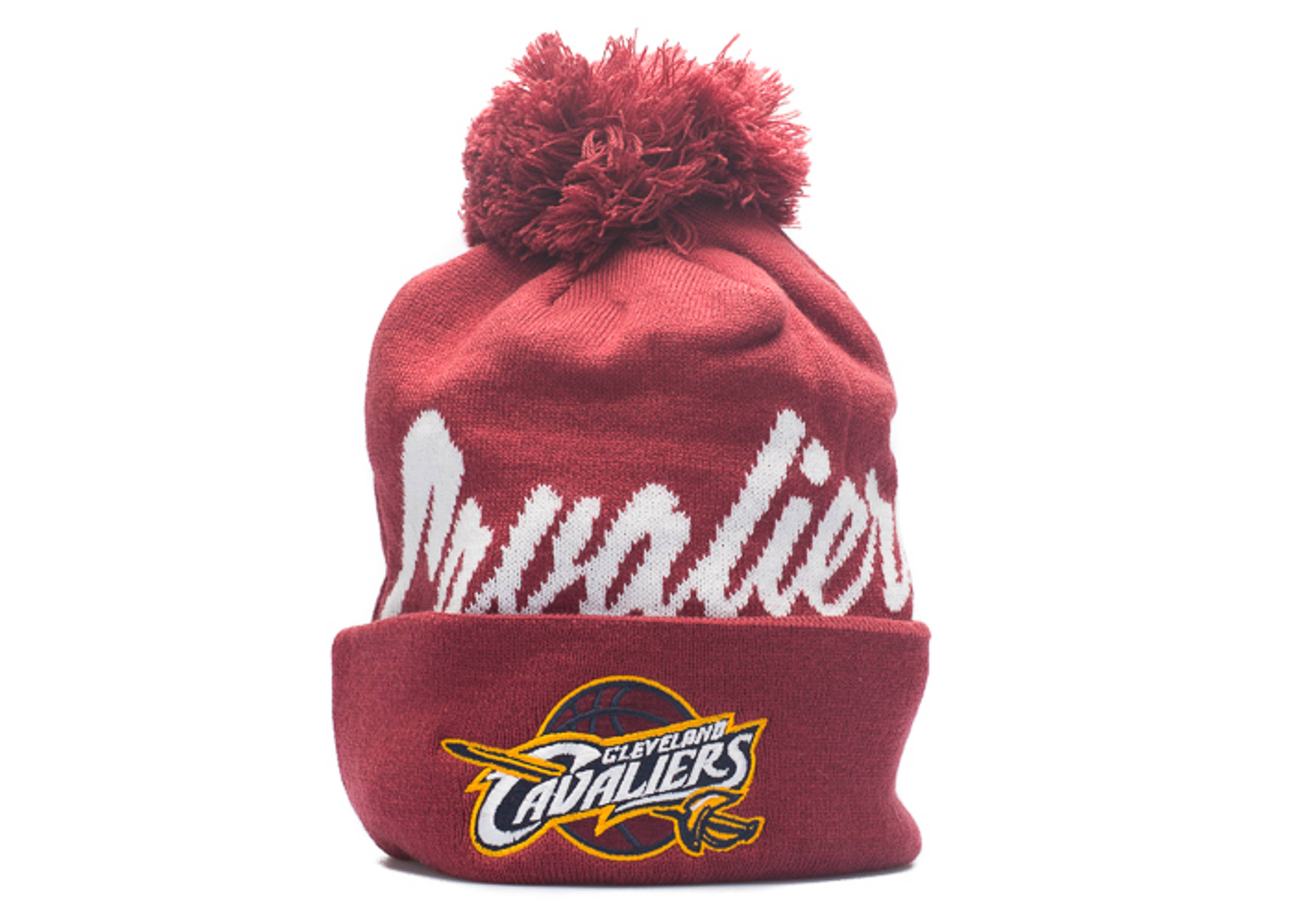 """cleveland cavaliers beanie """"double up cuffed pom"""""""