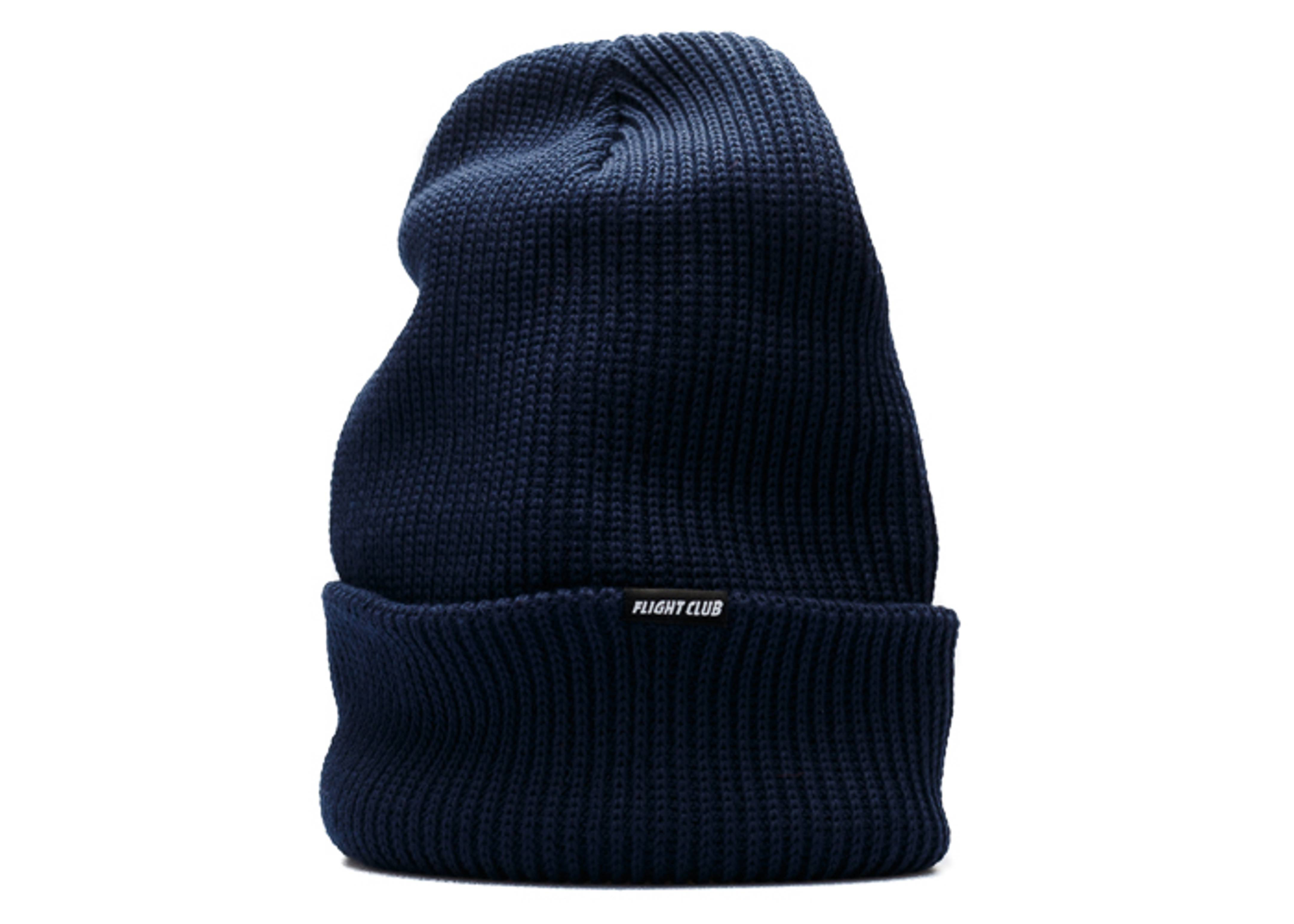 black tab cuffed knit beanie