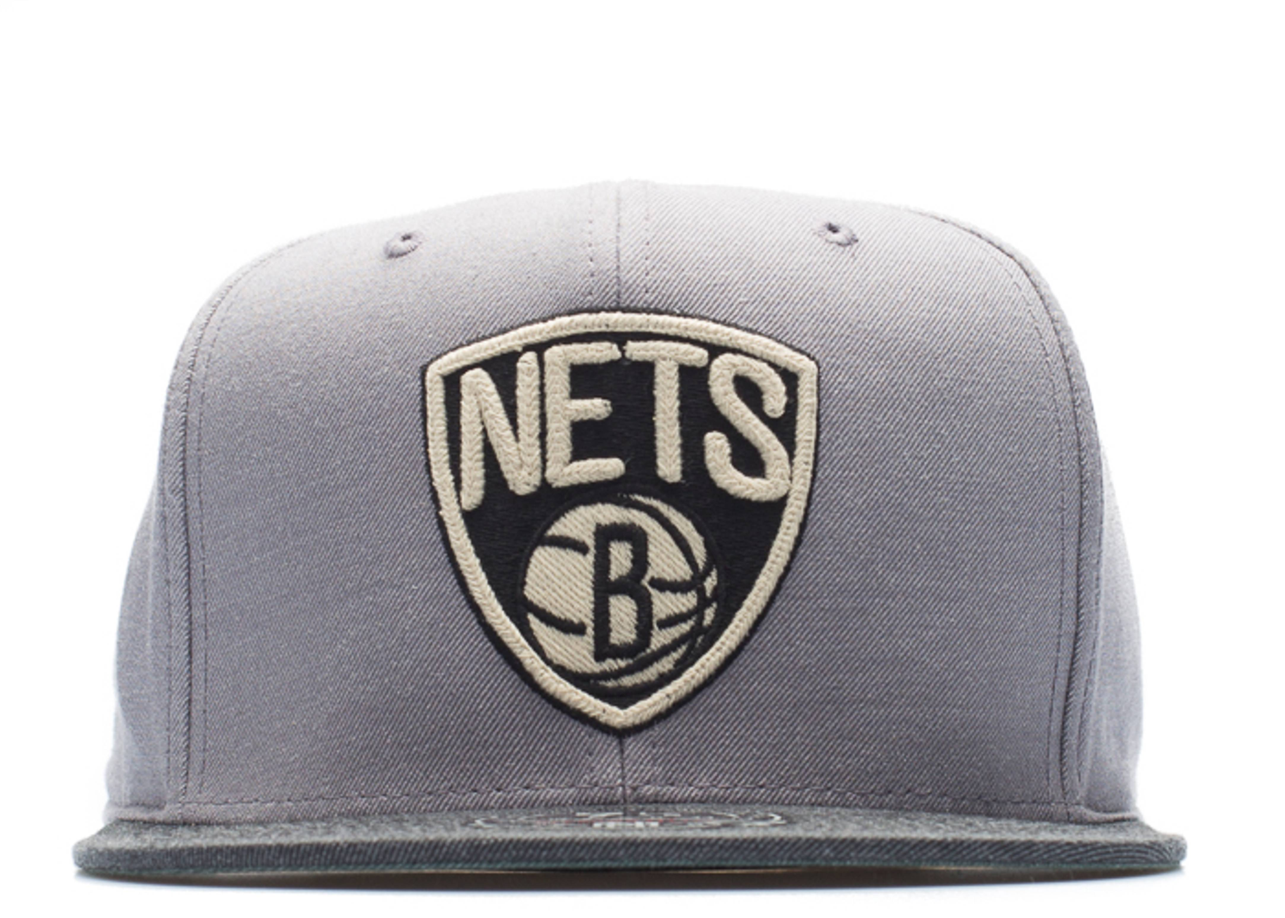 "brooklyn nets high crowned fitted ""heather"""