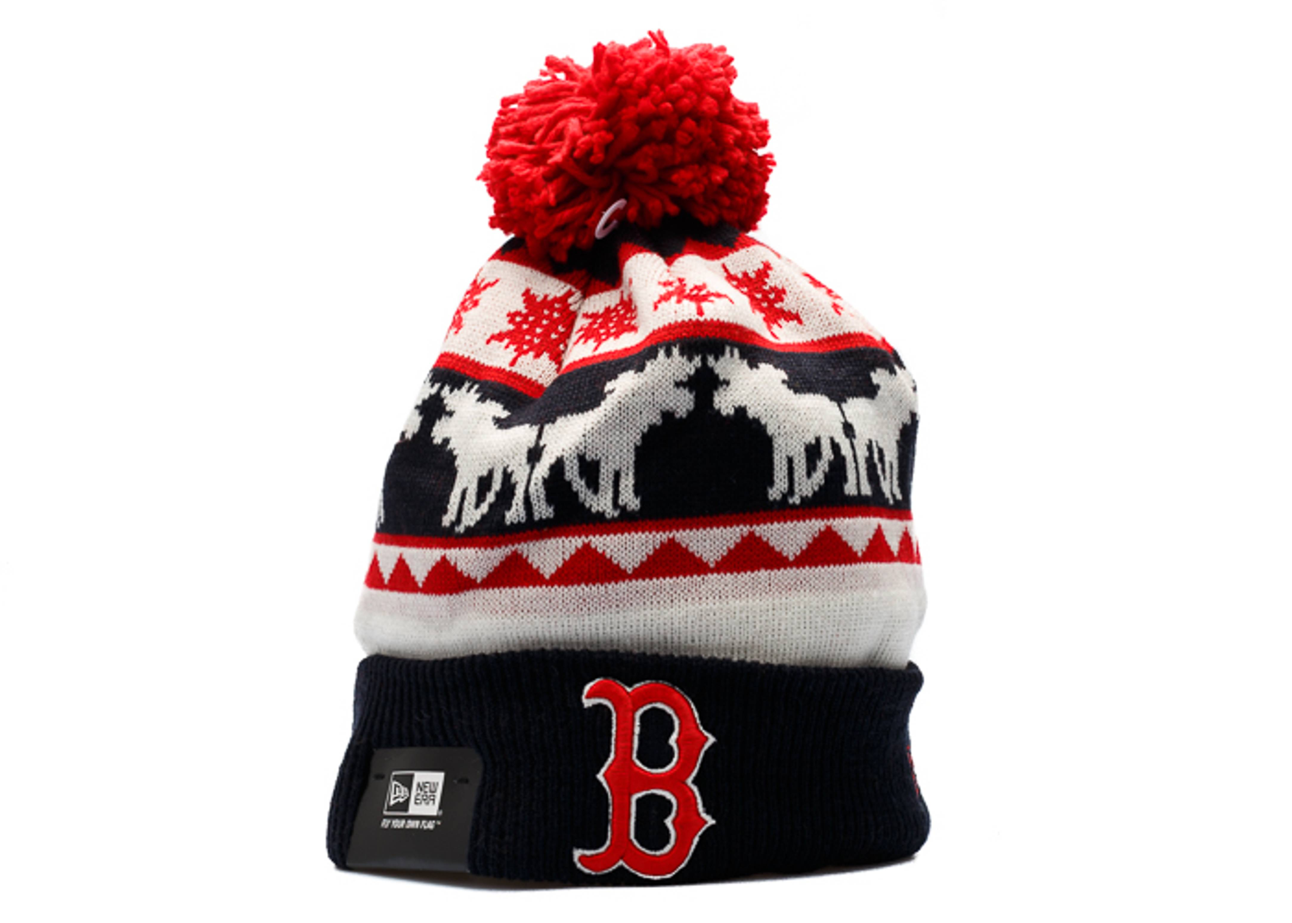 boston red sox knit cuffed pom beanie