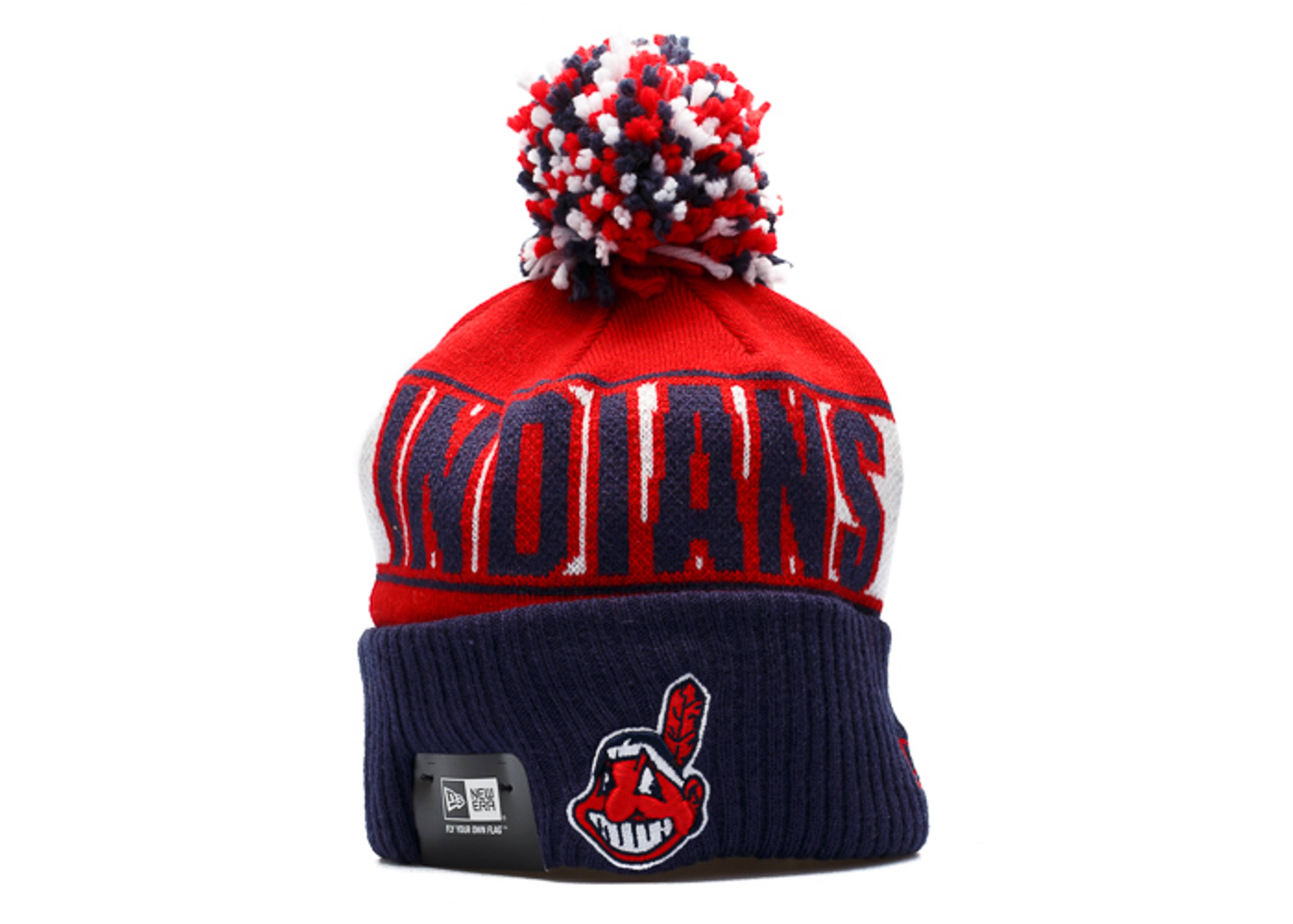 cleveland indians knit cuffed pom beanie