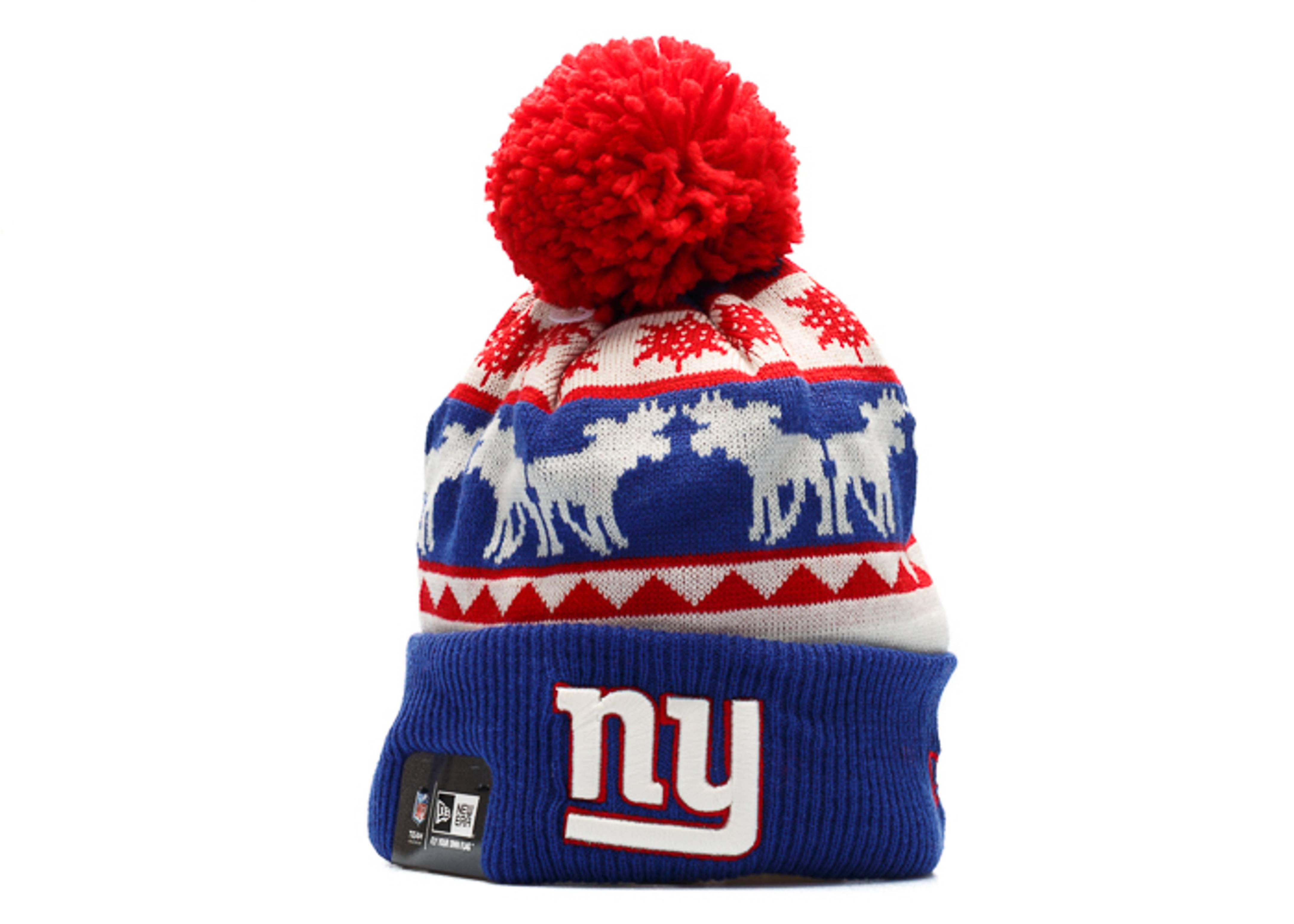 new york giants knit cuffed pom beanie