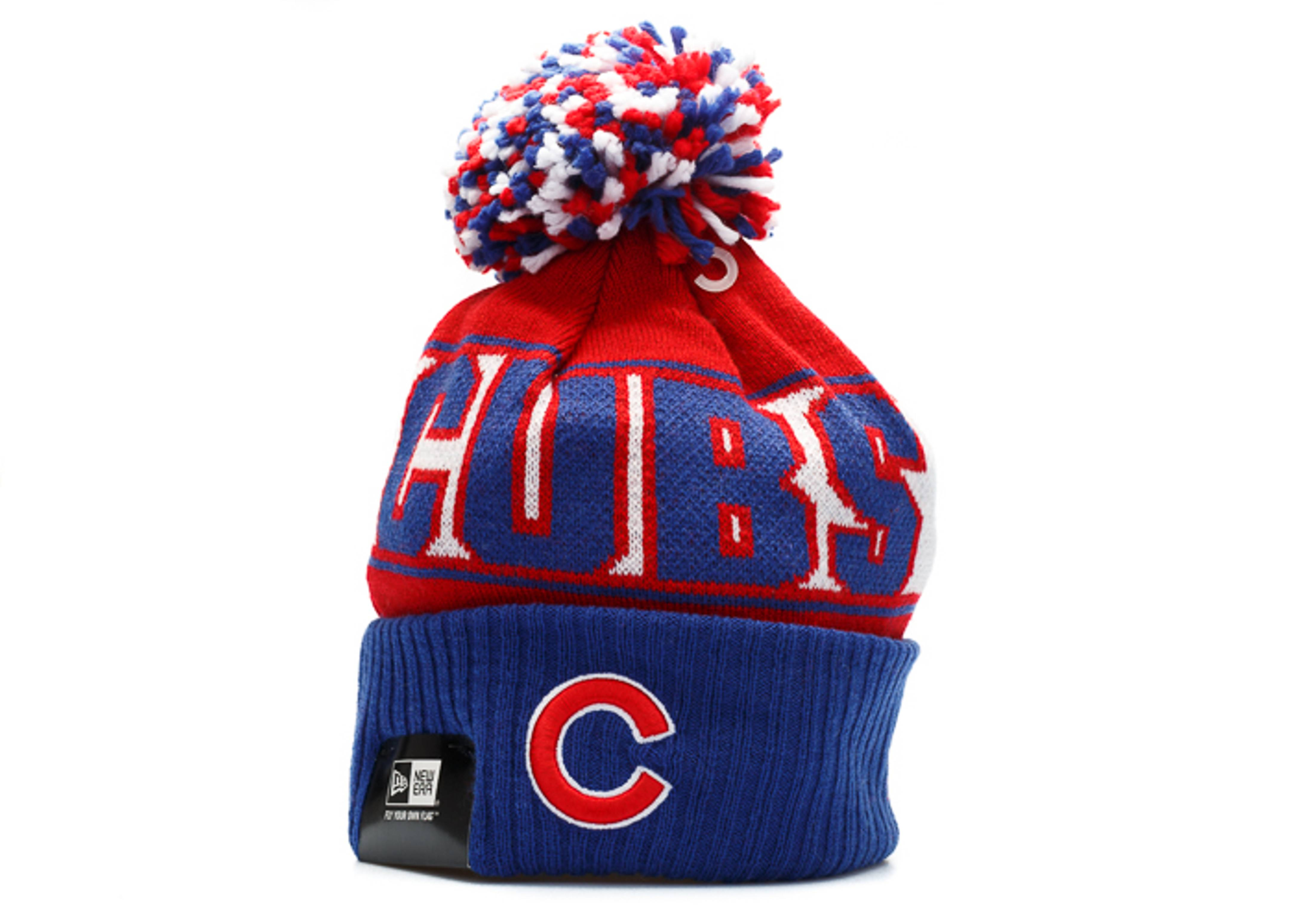 chicago cubs knit cuffed pom beanie