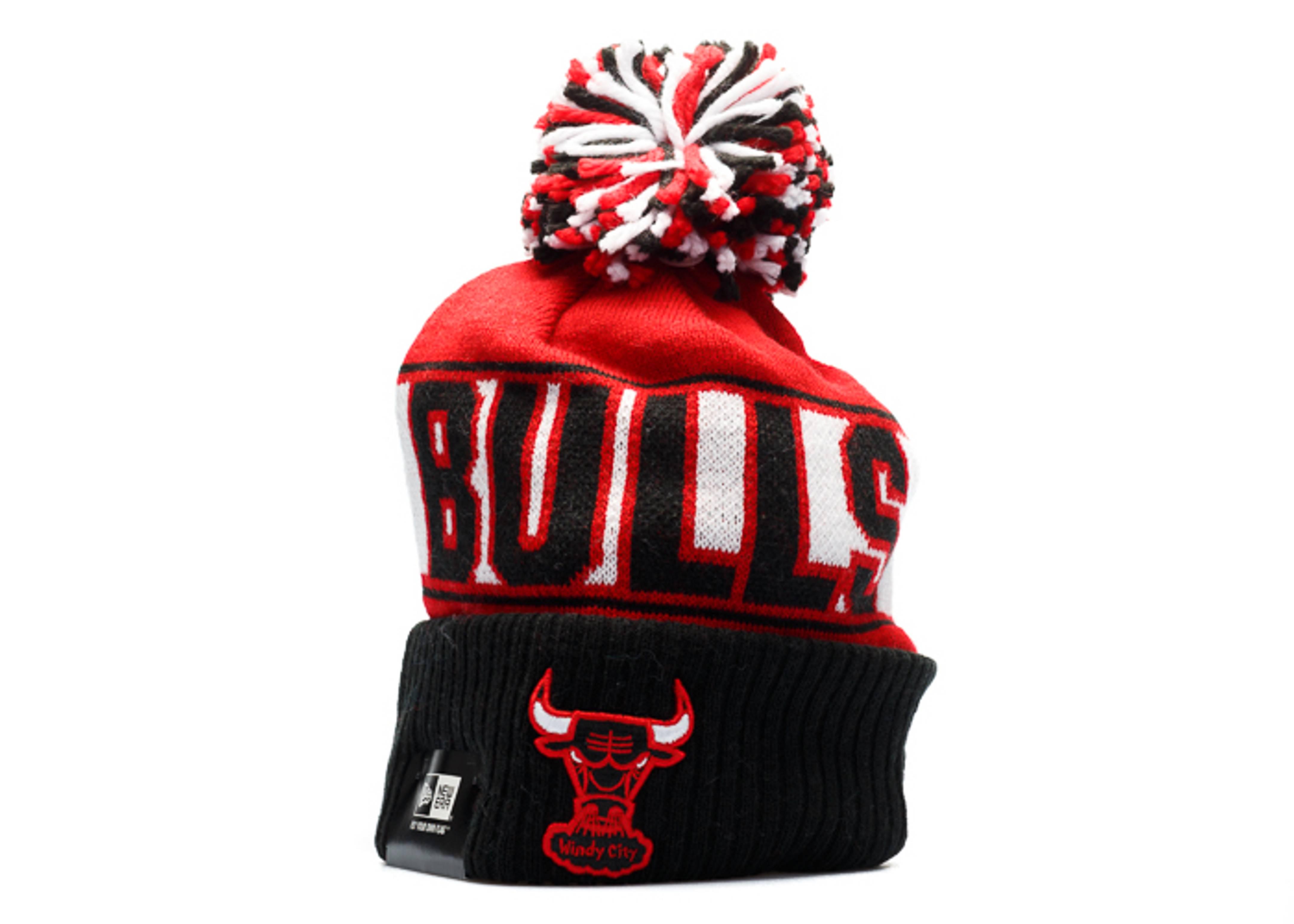chicago bulls knit cuffed pom beanie