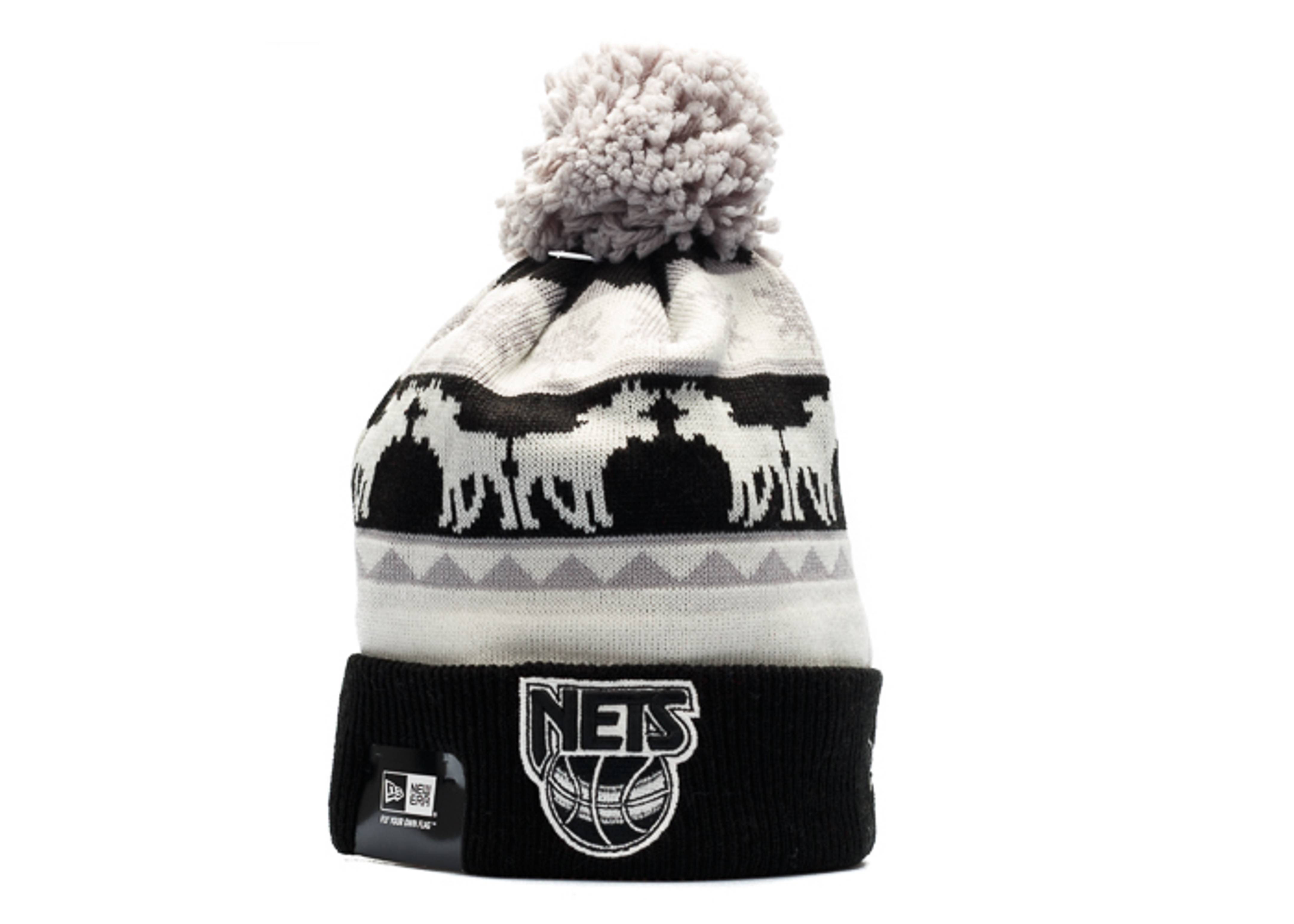new jersey nets knit cuffed pom beanie