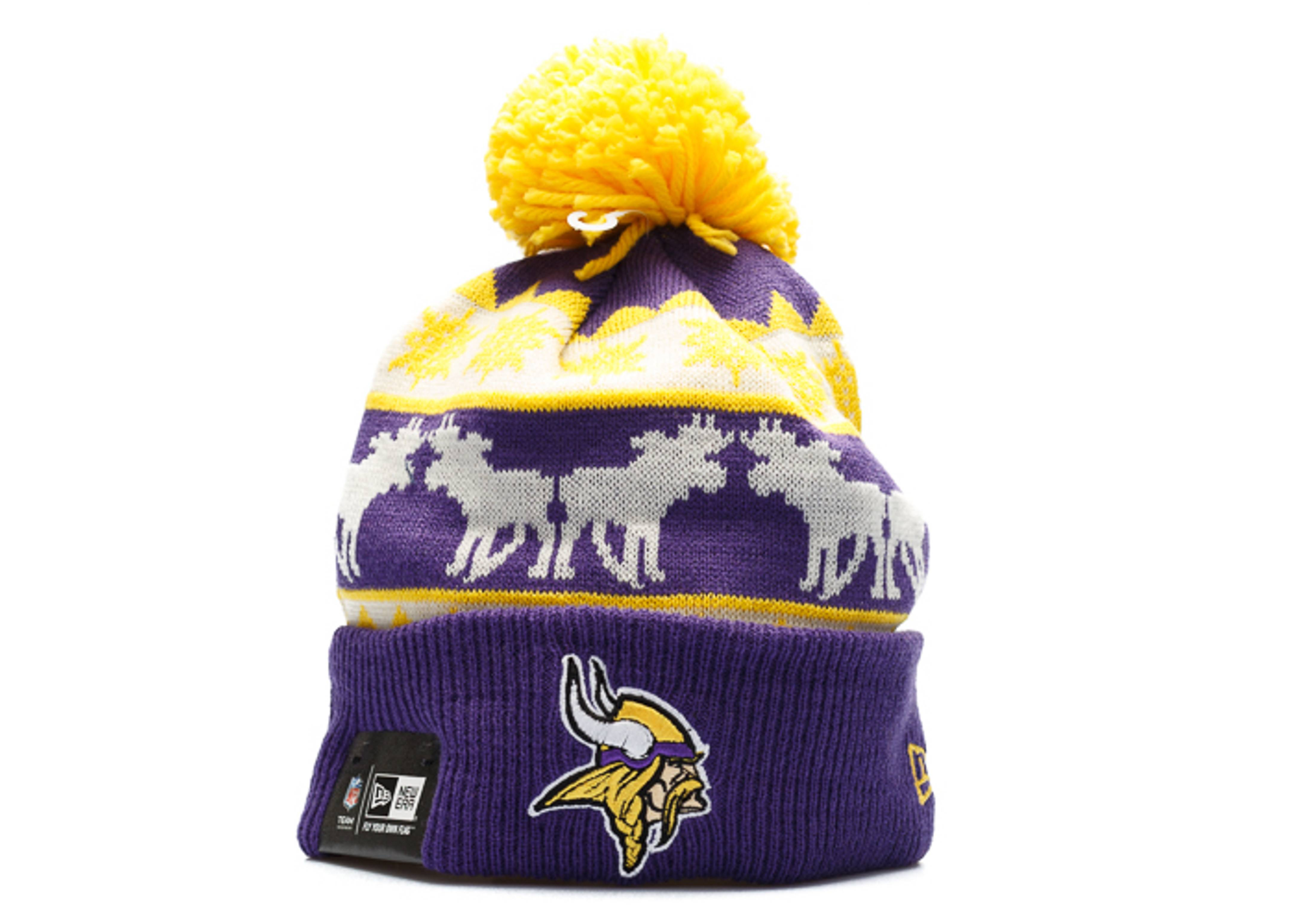 40a10d645 Minnesota Vikings Knit Cuffed Pom Beanie - New Era - 80083280 -  purple yellow white