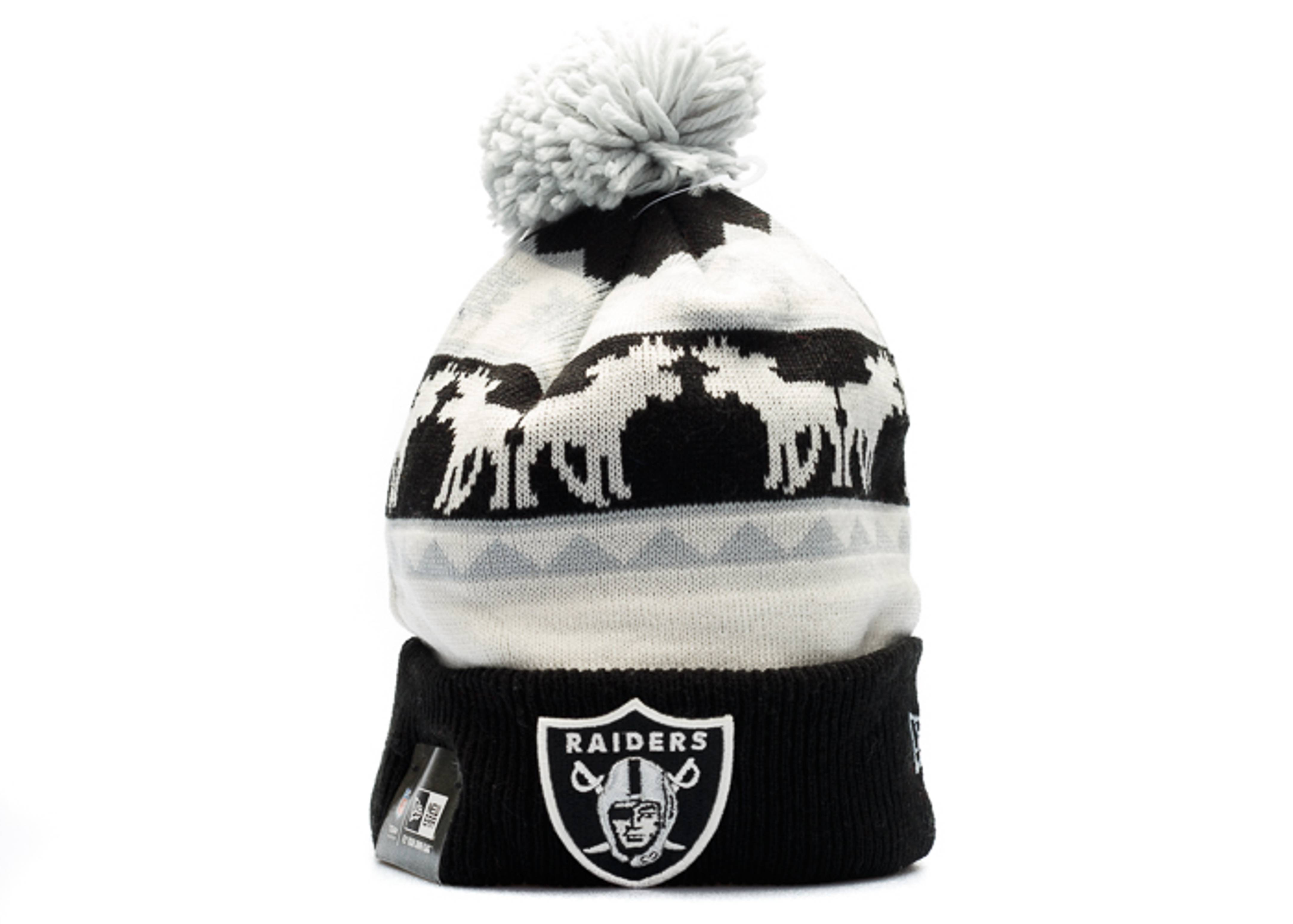 oakland raiders knit cuffed pom beanie