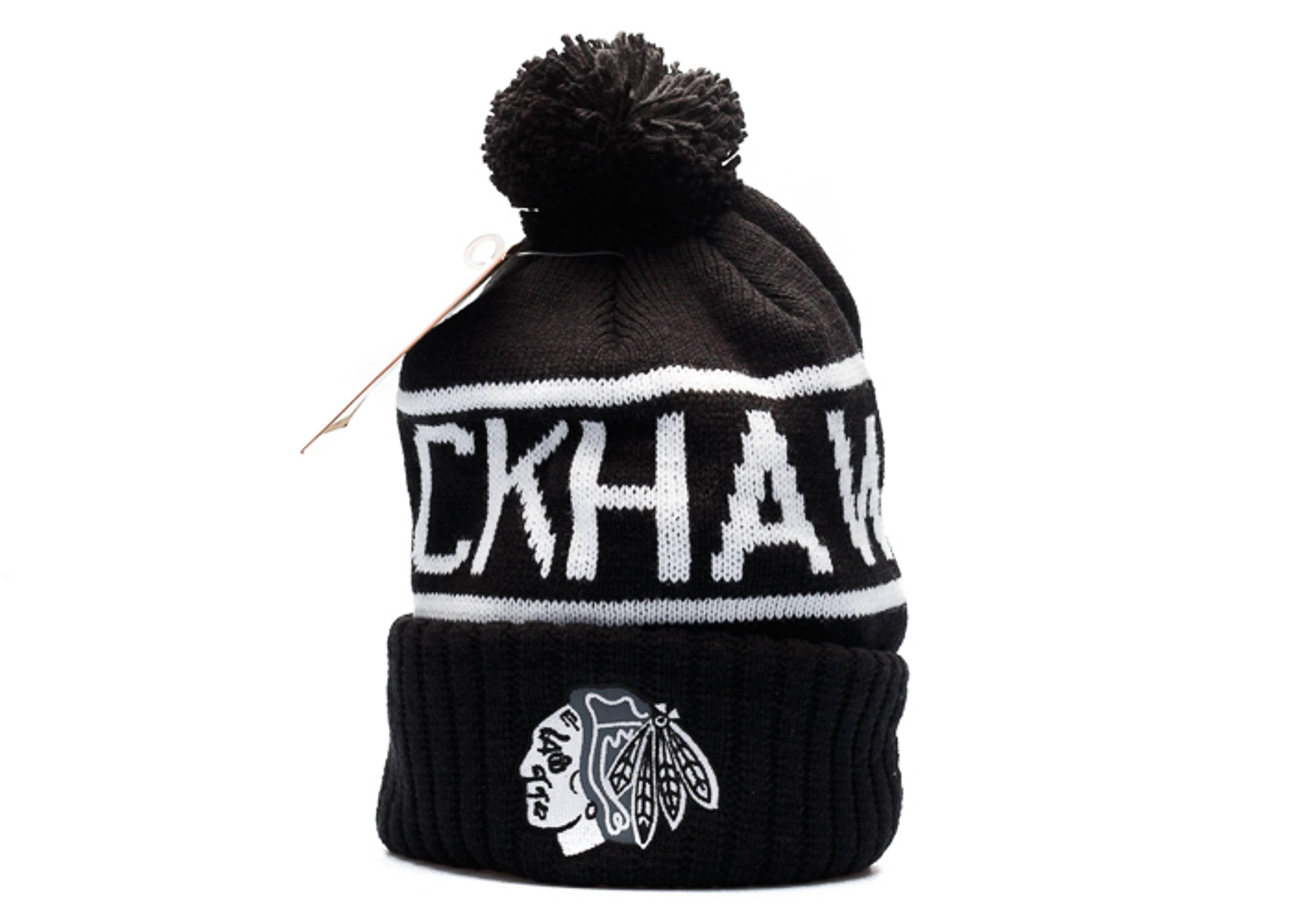 """chicago blackhawks knit cuffed pom beanie """"reflective logo"""""""