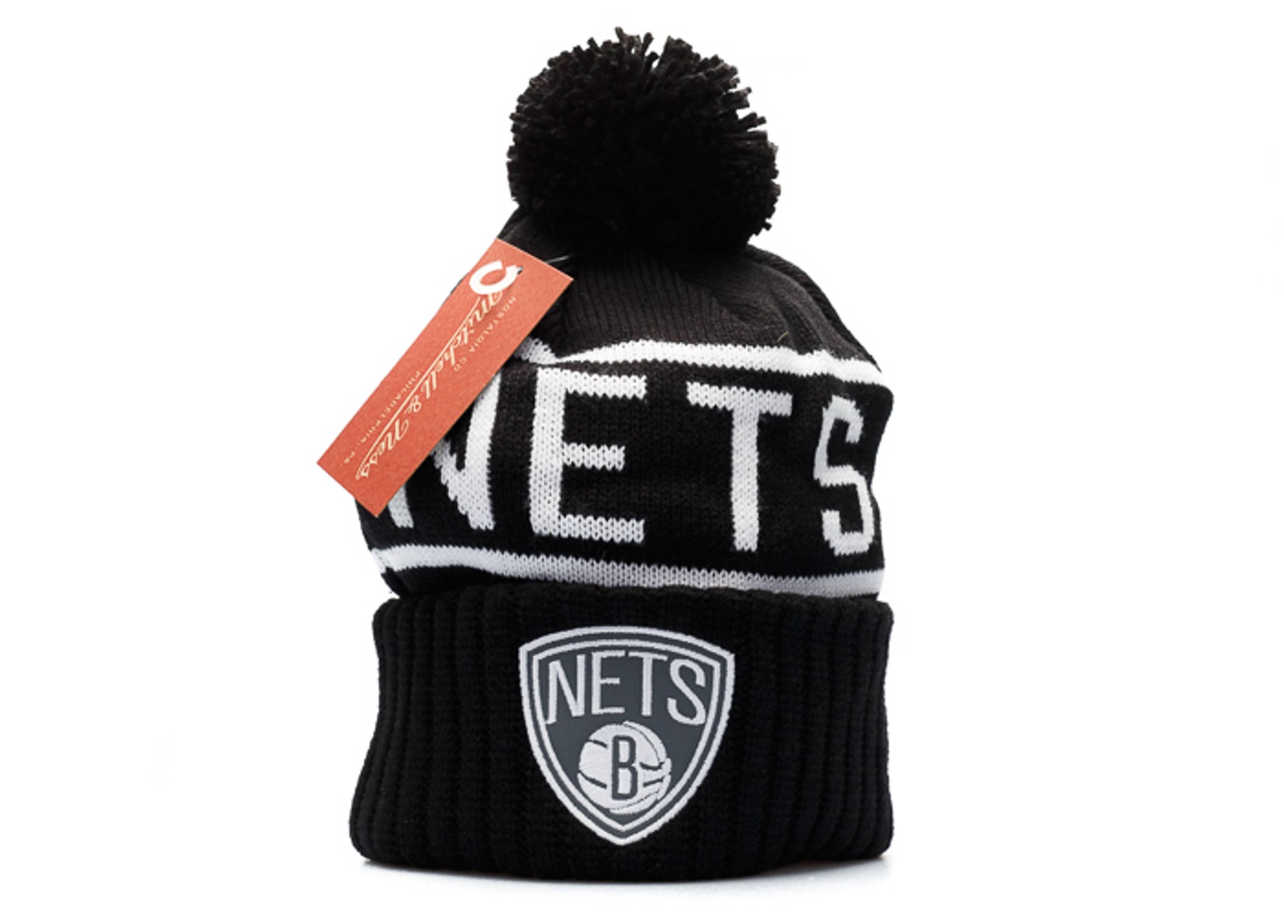 """brooklyn nets knit cuffed pom beanie """"3m logo"""""""