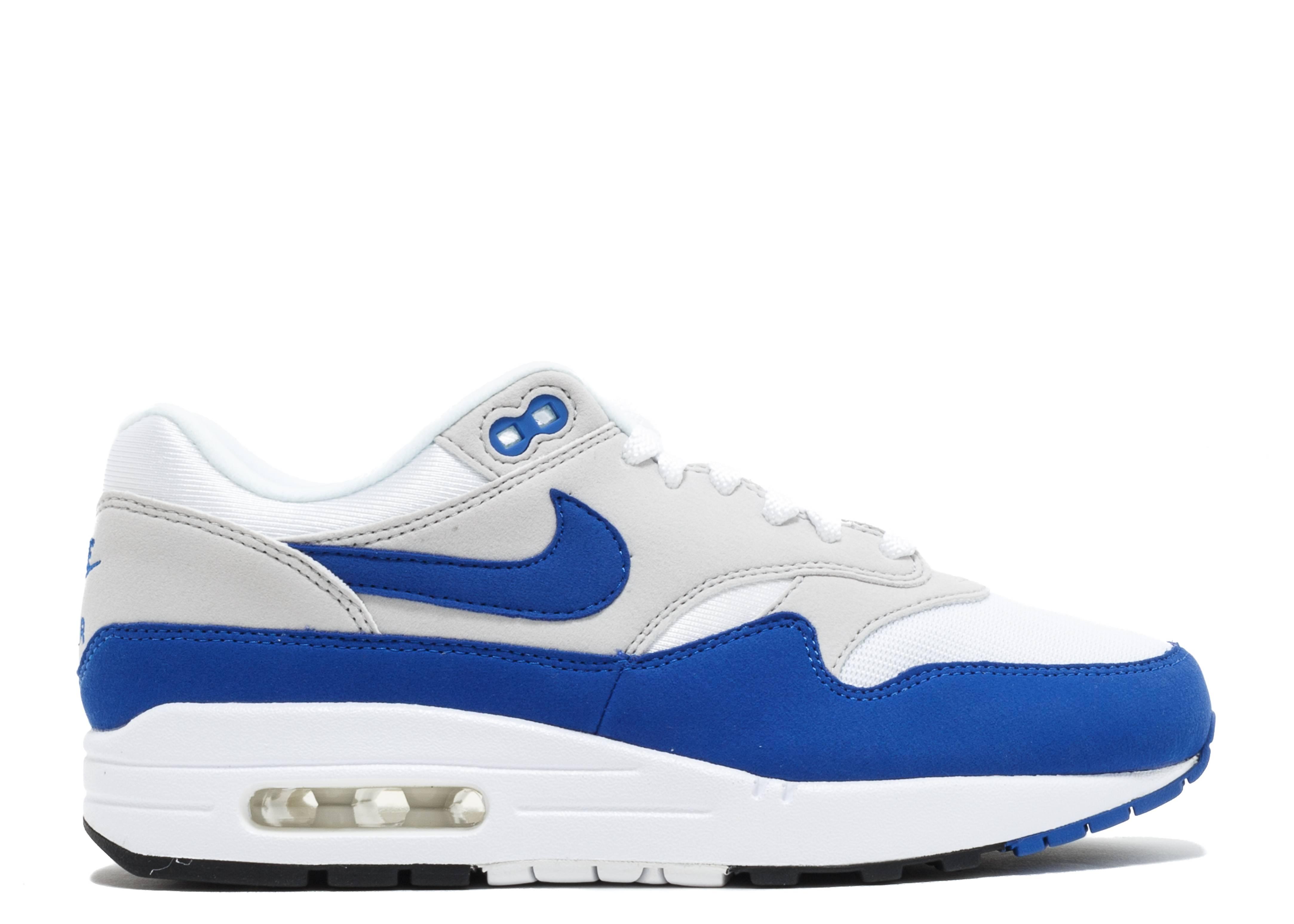 "Men's And Women's Nike Air Max 1 OG Anniversary ""Royal"" WhiteGame Royal Neutral Grey 908375 101 Online"