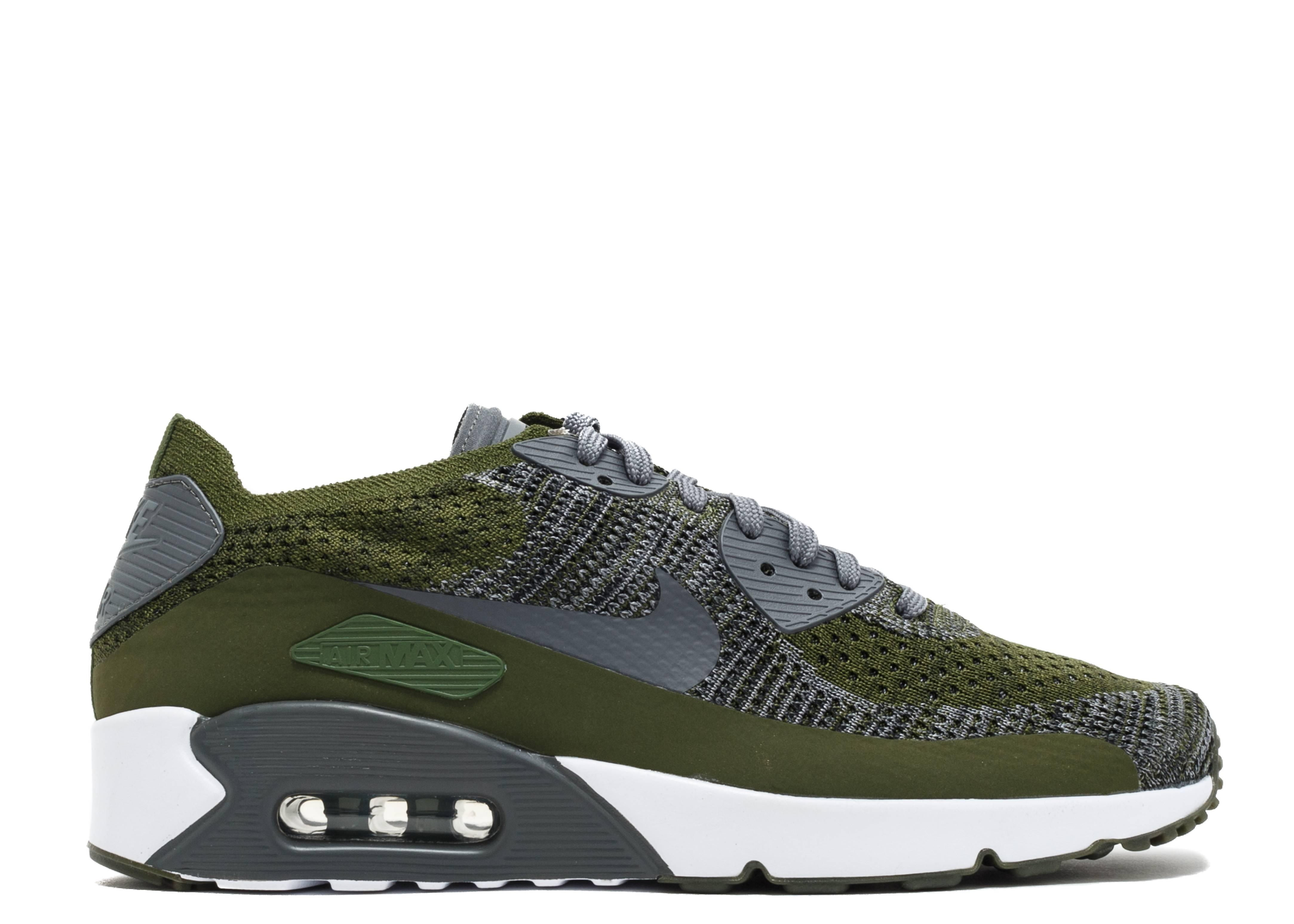 Air Max 90 Ultra 2.0 Flyknit - Nike - 875943 300 - rough green dark grey-  white  f46537efcc1a