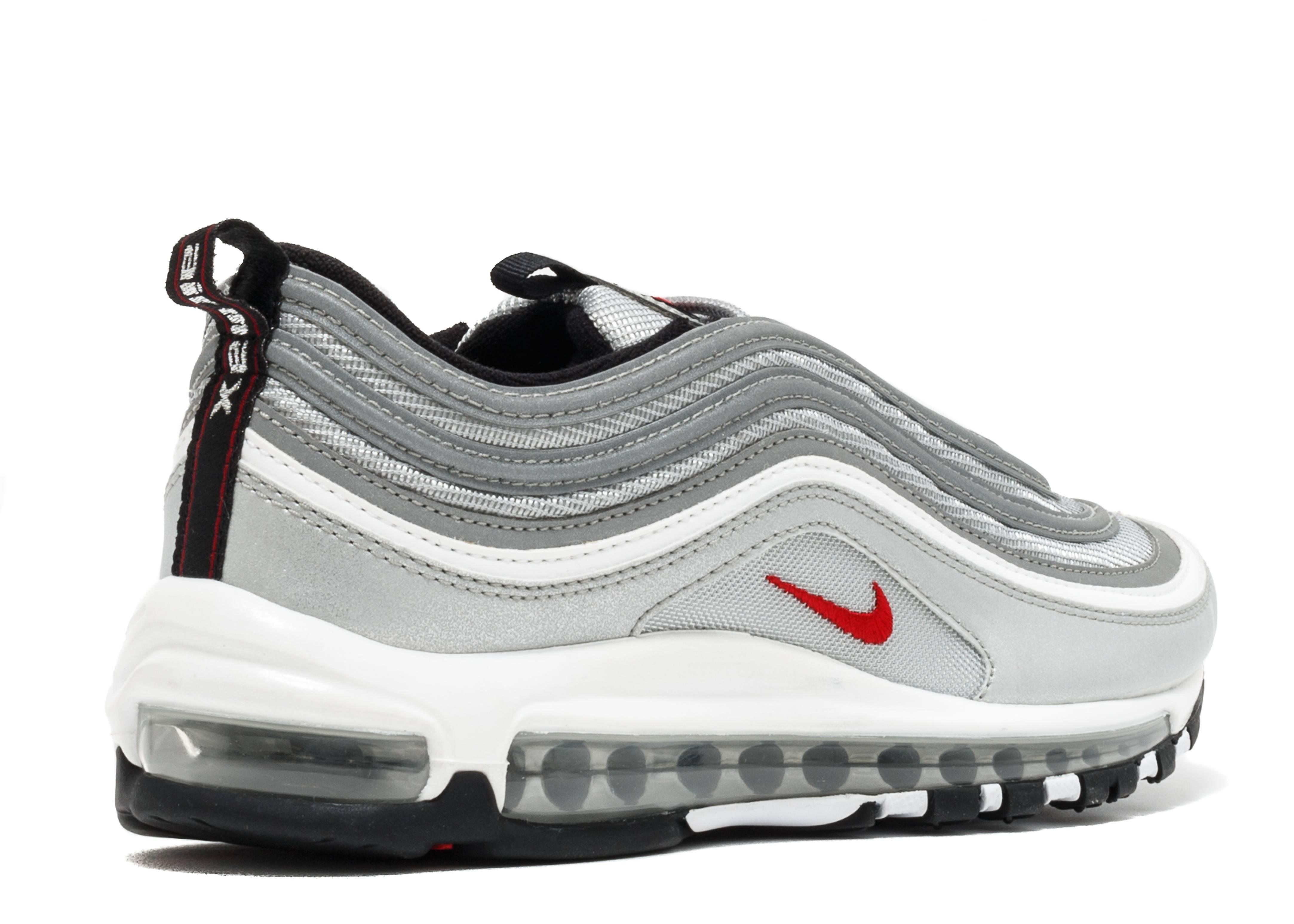 Nike Air Max 97 OG QS 'Silver Bullet' Metallic SilverVarsity Red 884421 001