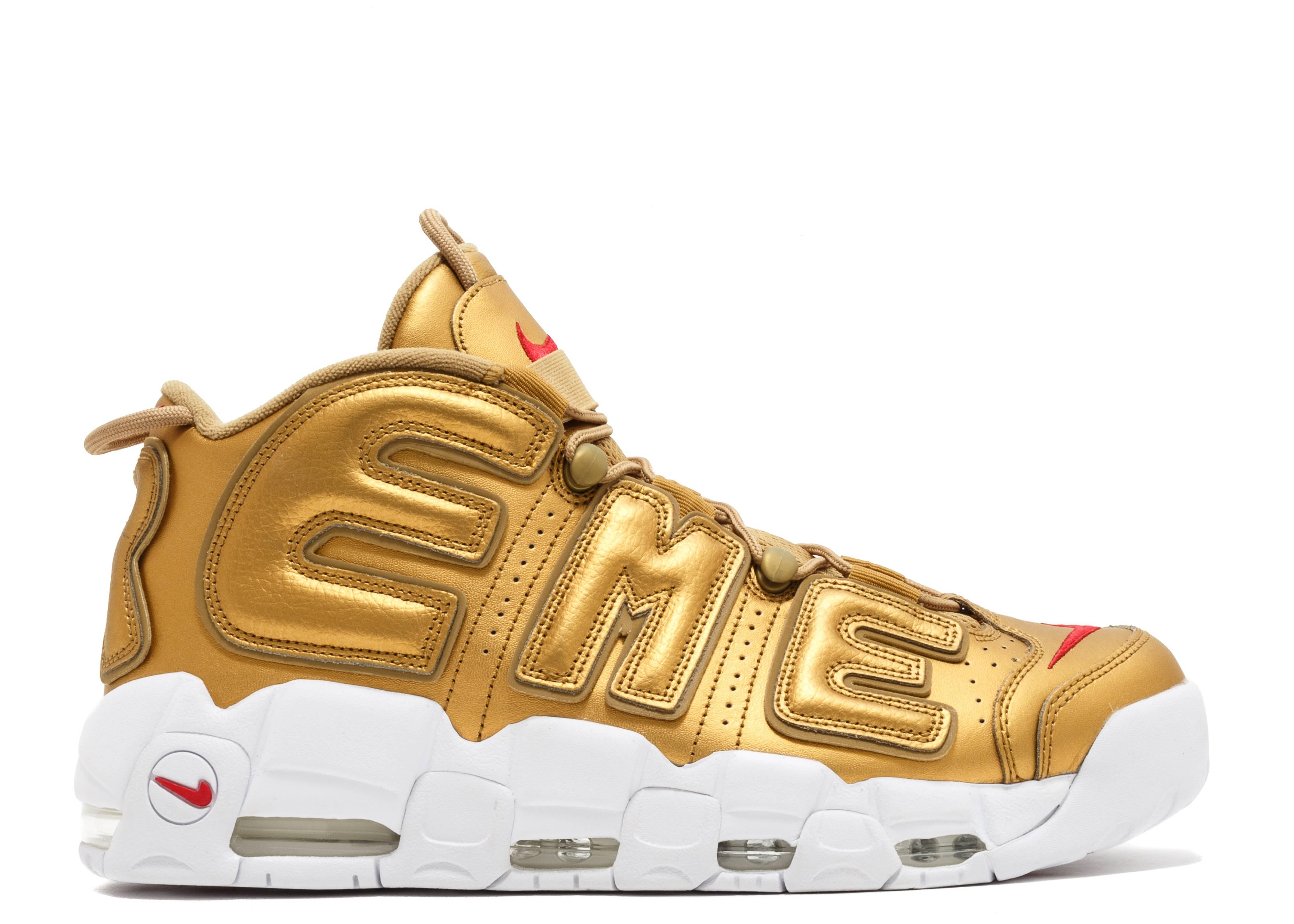 Representación Contribuyente Fascinante  Supreme X Air More Uptempo 'Metallic Gold' - Nike - 902290 700 - metallic  gold/white | Flight Club