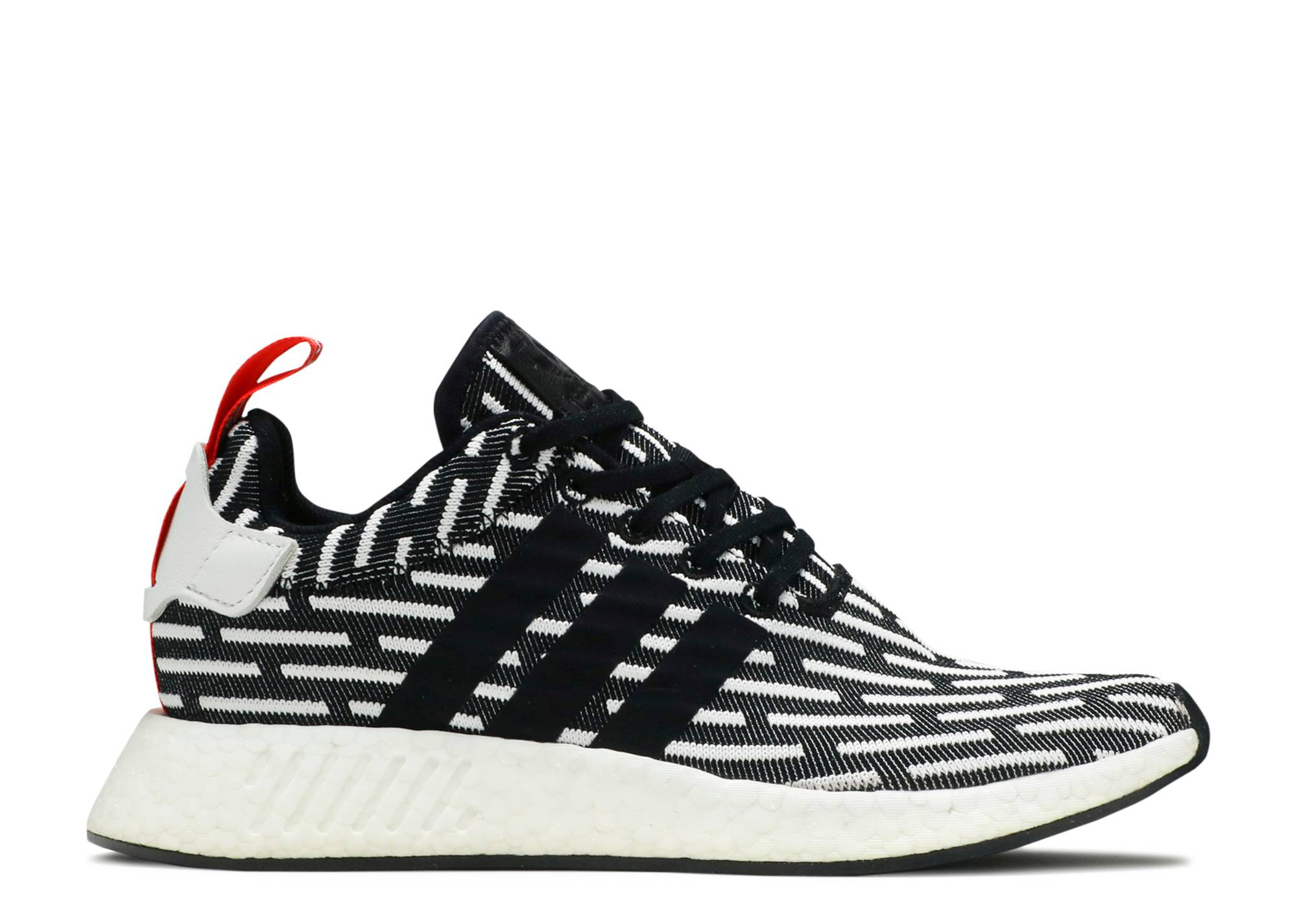 Adidas NMD R2 PK boost running shoes black and white red