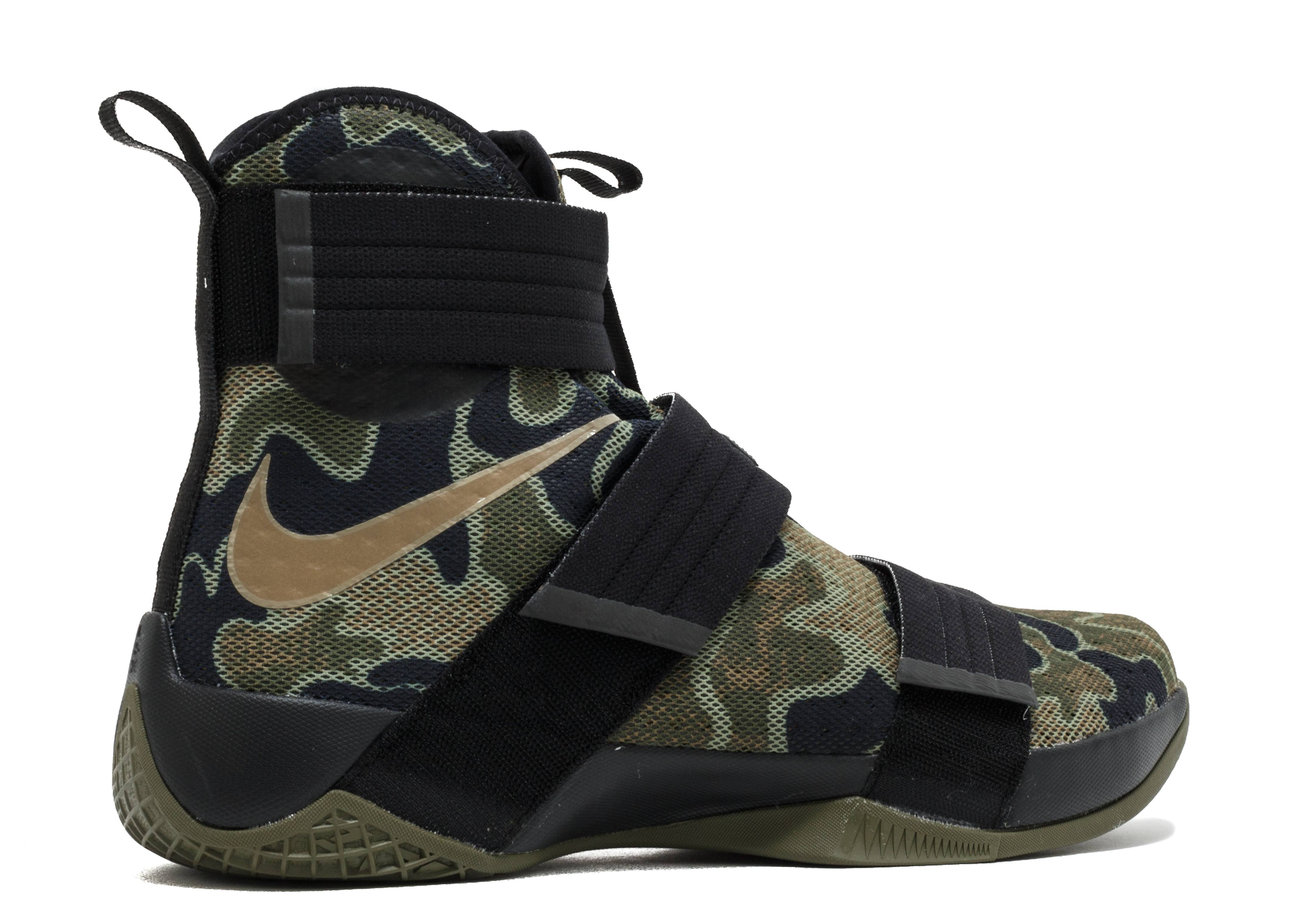 the best attitude 5f9c3 ea521 italy lebron soldier 10 army camo with special packaging nike 844378 022  green black brown flight