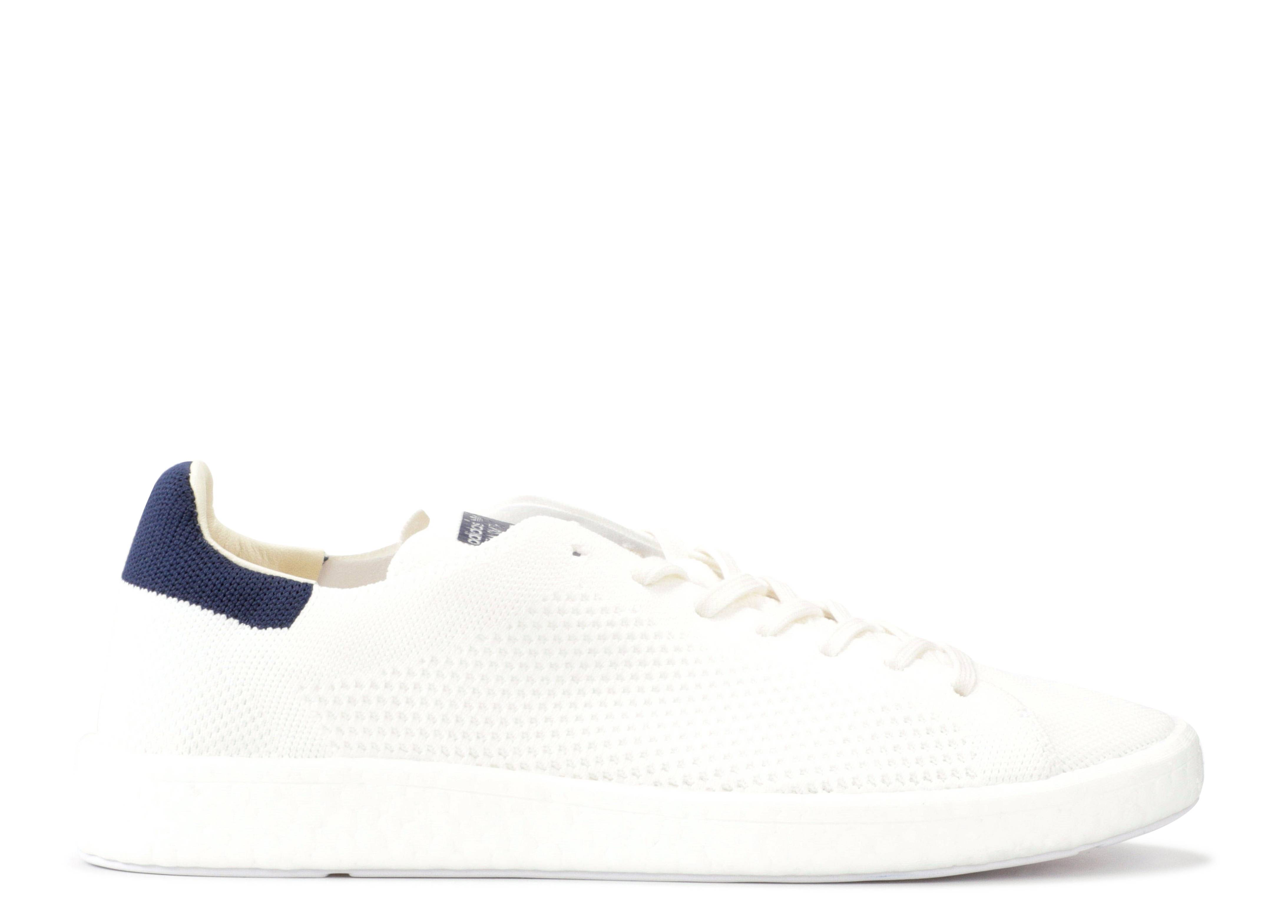 The adidas Stan Smith Boost Primeknit In White And Navy