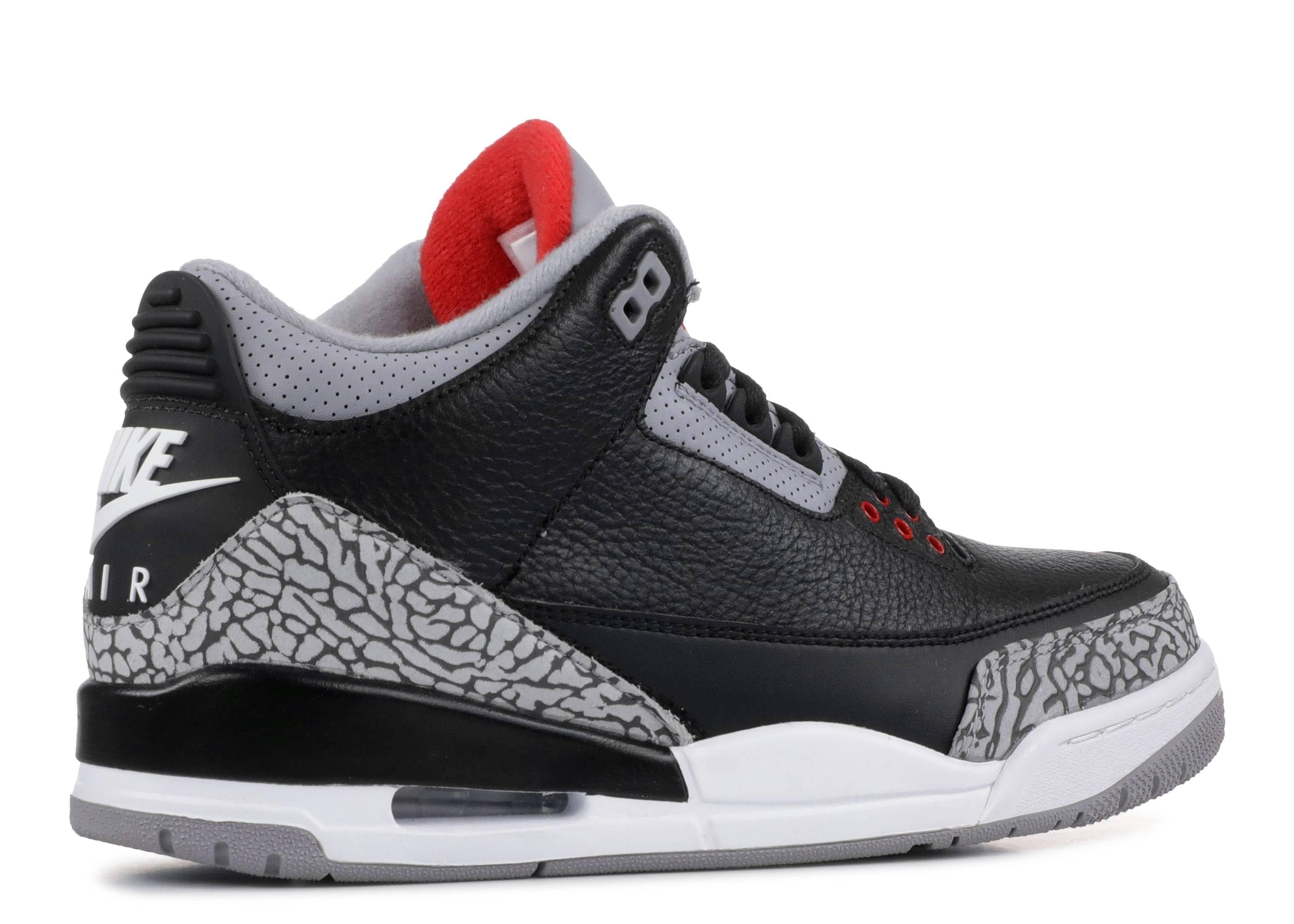 "Air Jordan 3 Retro Og ""black Cement"" Air Jordan 001 black fire red cement grey"