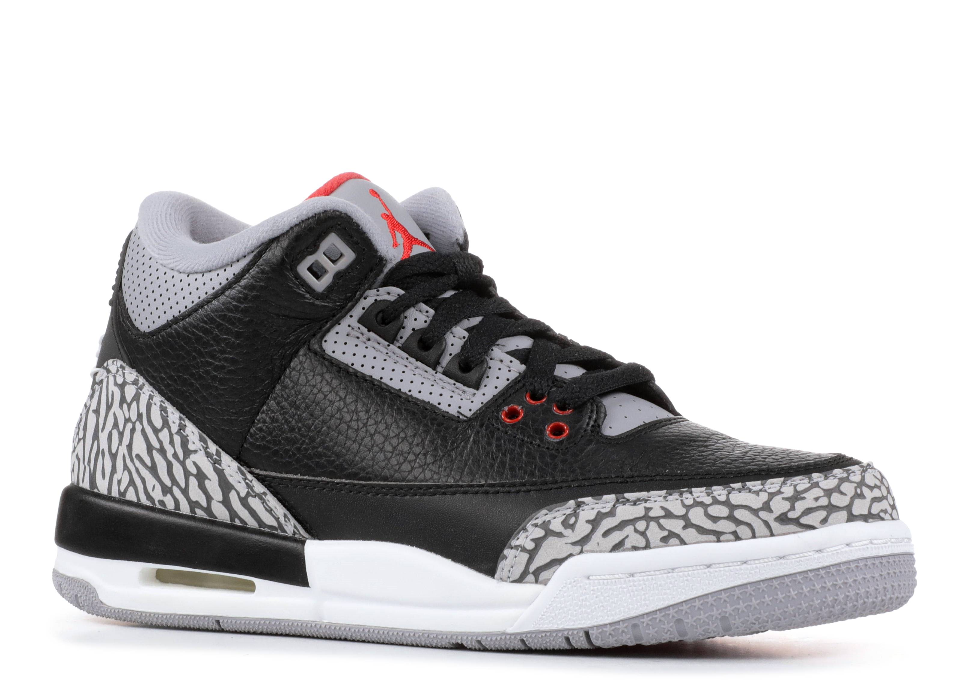 Nike Air Jordan 3 Retro OG BG Black//Fire Red-Cement Grey Black Cement 854261-001