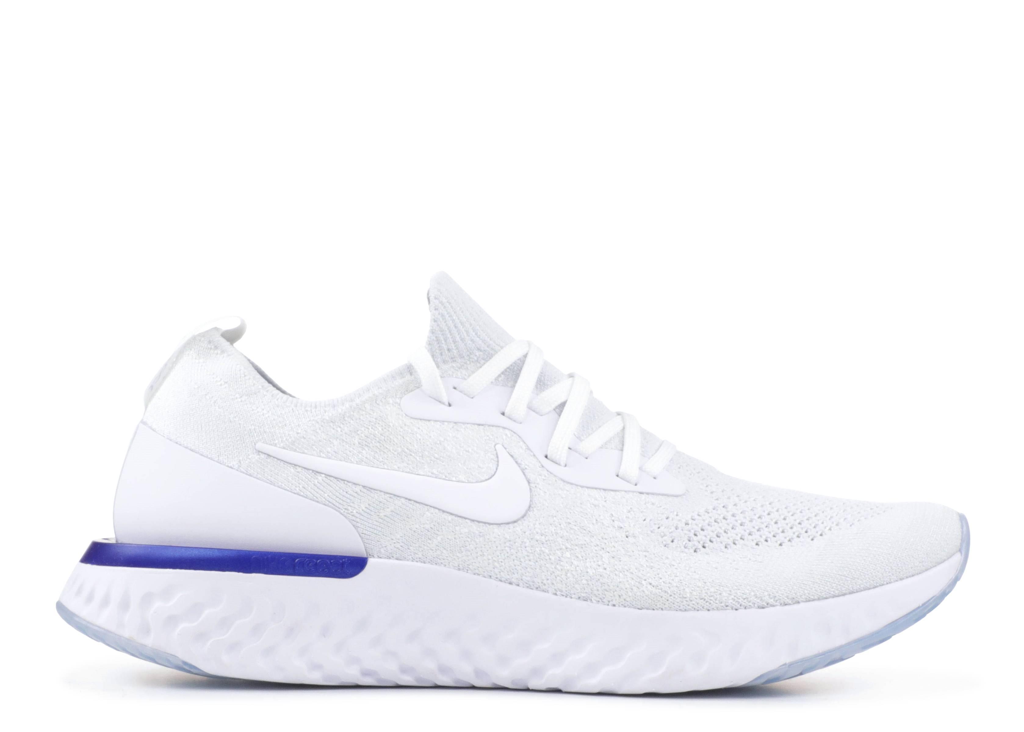 c11a4f512bb7 Nike Epic React Flyknit - Nike - aq0067 100 - white white-racer blue ...