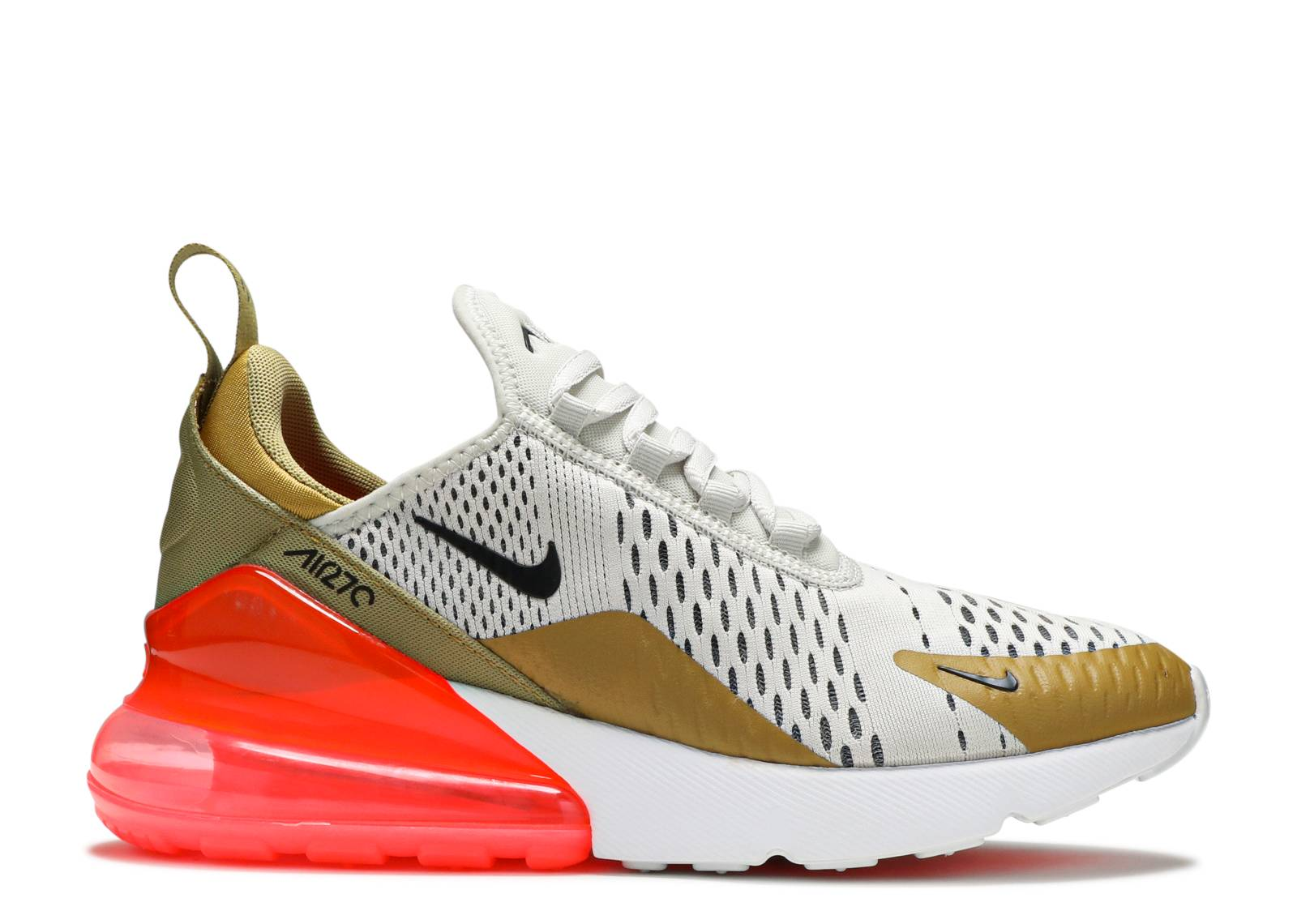 Nike WMNS Air Max 270 Flight GoldBlack Light Bone White Hot Punch Shoes