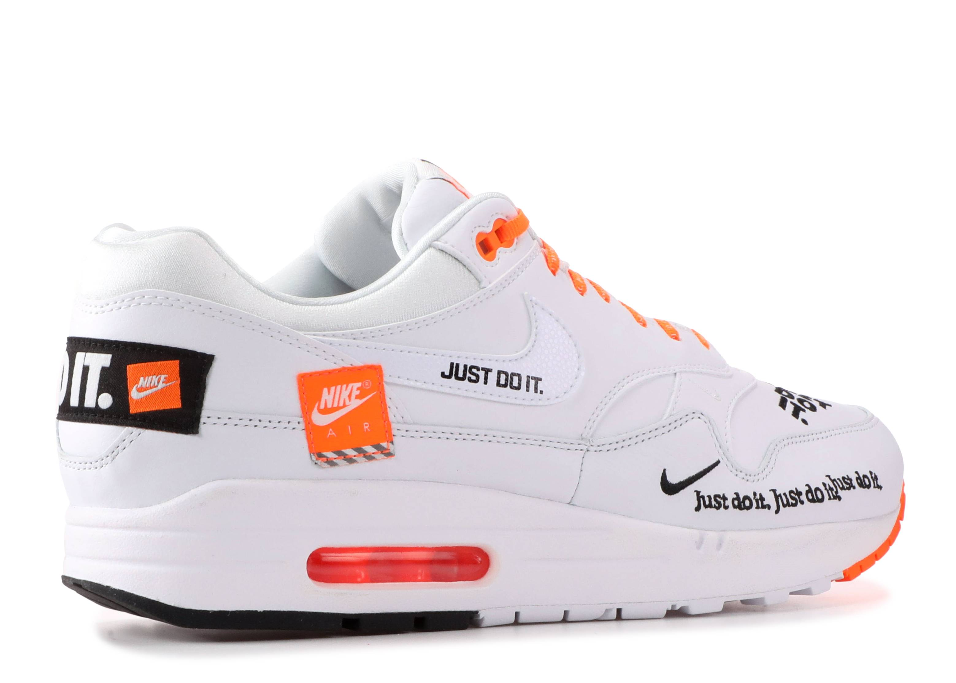 Air Max 1 'Just Do It' - Nike - AO1021 100 - white/orange/black ...
